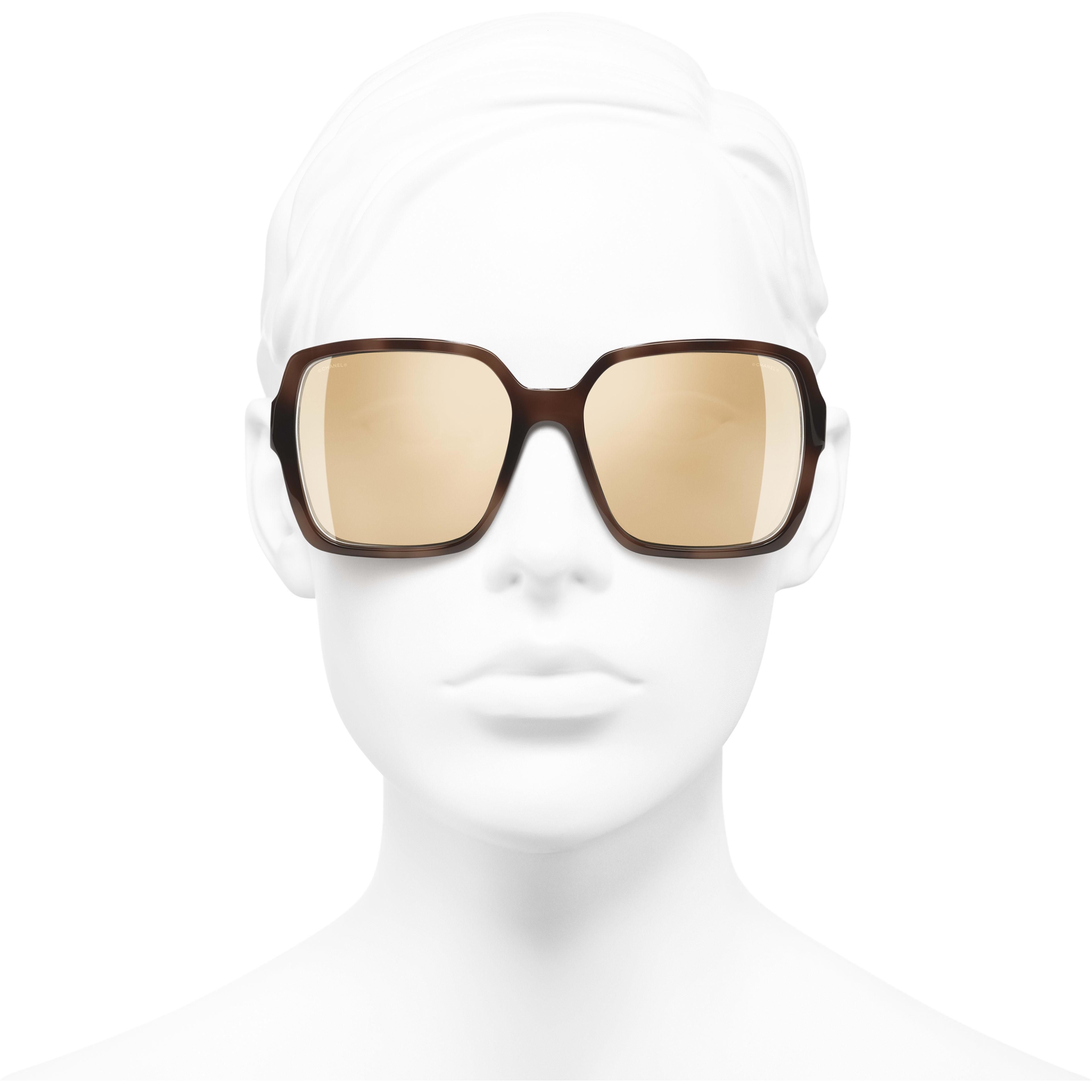 Square Sunglasses - Brown - Acetate - Worn front view - see standard sized version