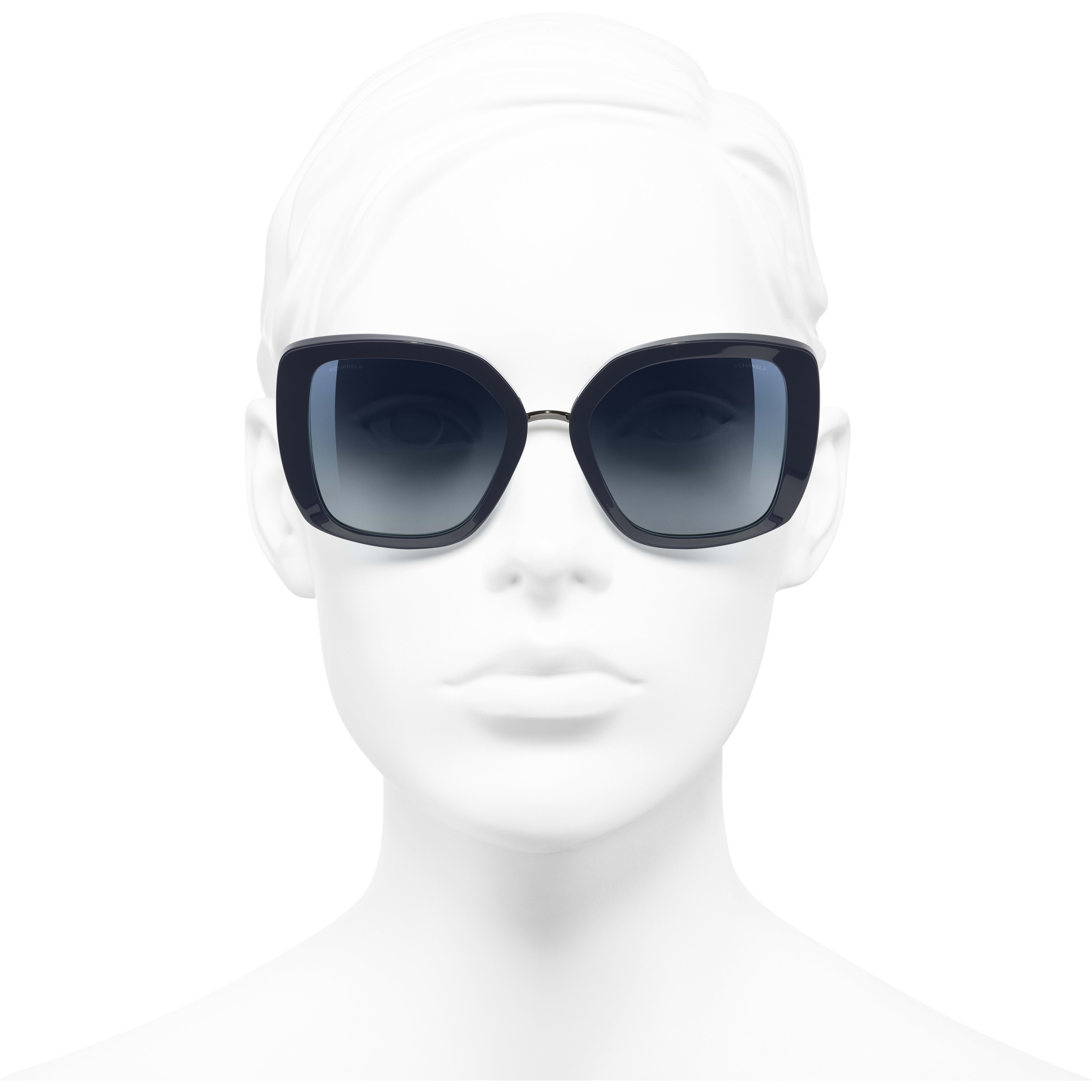Square Sunglasses - Dark Blue - Acetate & Metal - Worn front view - see standard sized version