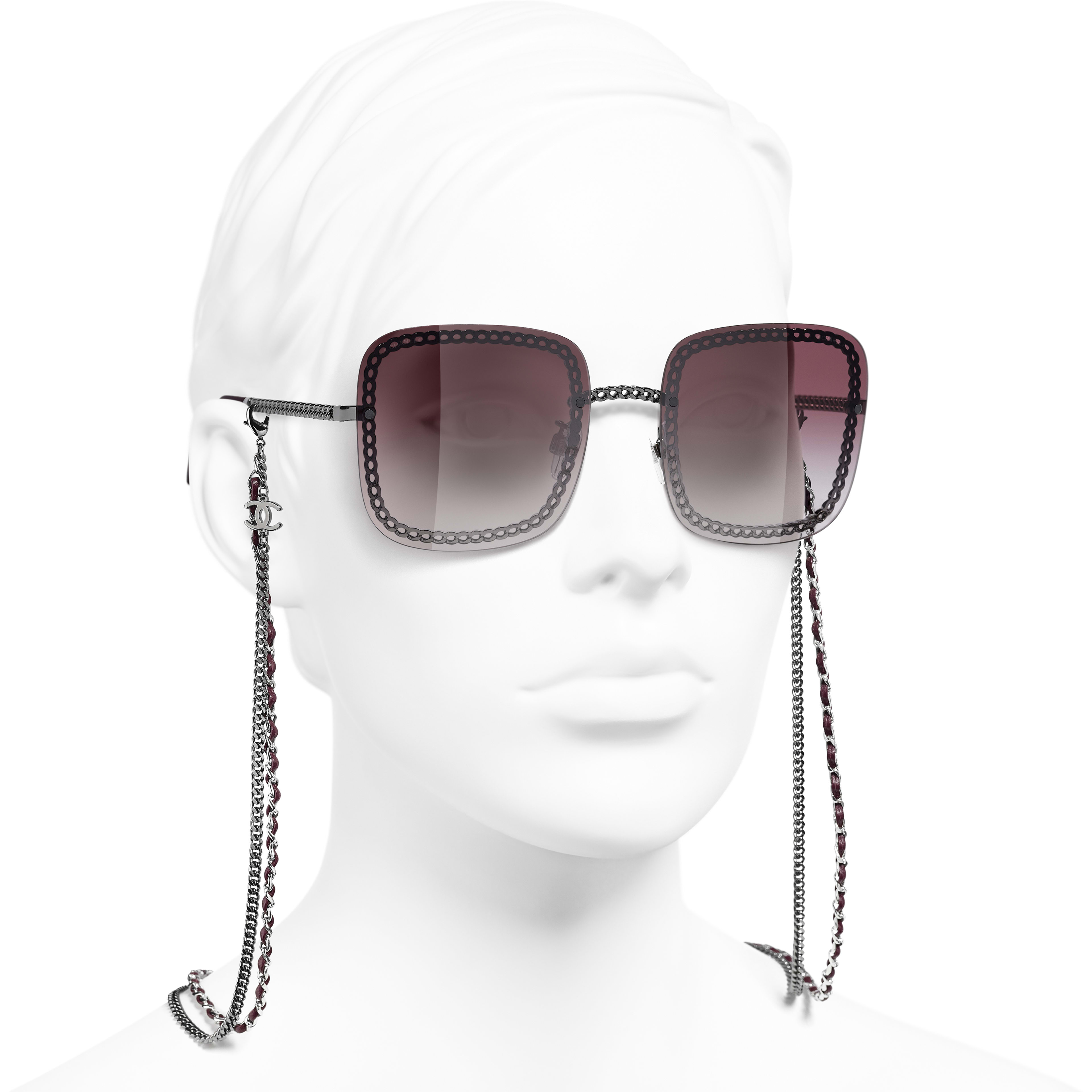 Square Sunglasses - Dark Silver - Metal & Calfskin - CHANEL - Worn 3/4 view - see standard sized version