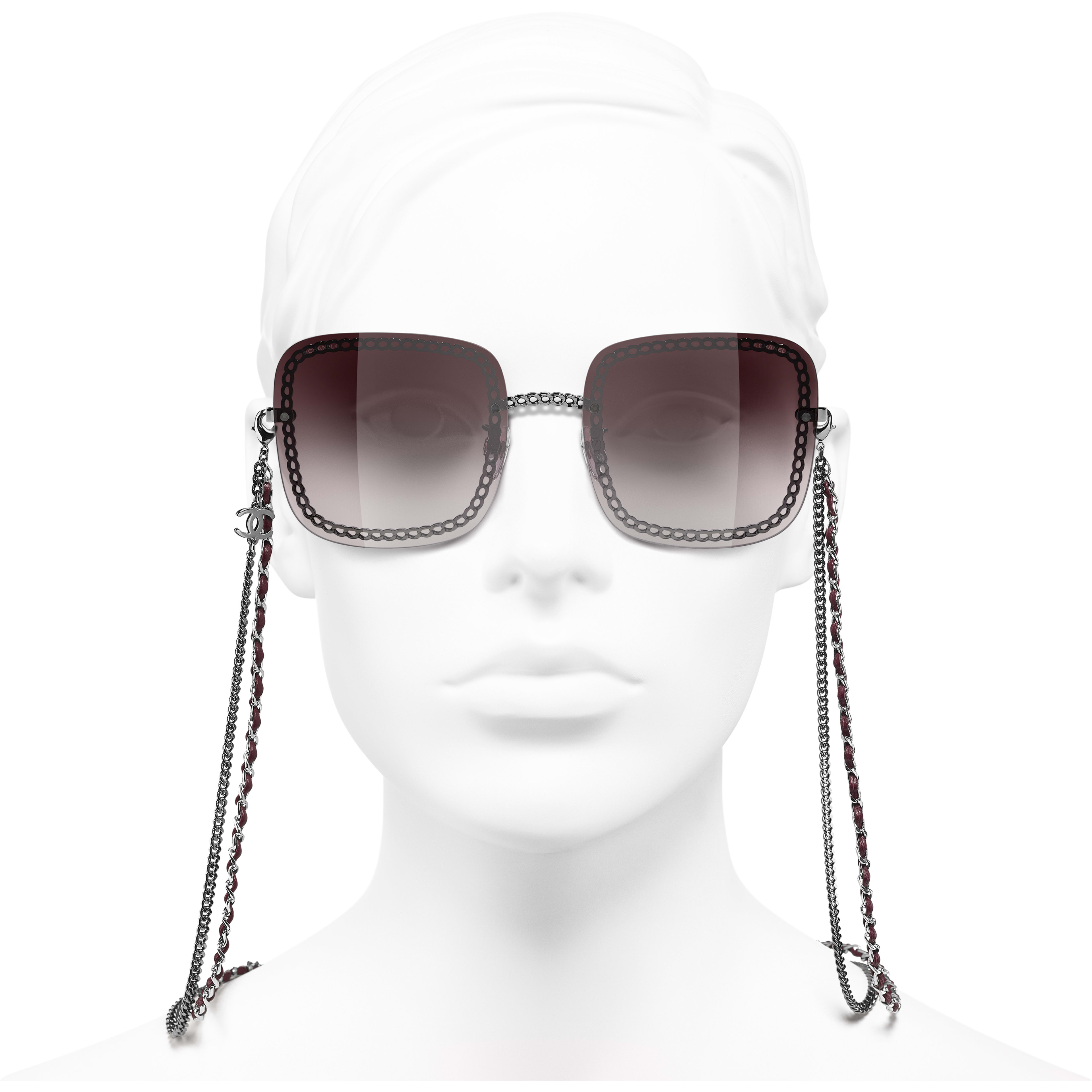 Square Sunglasses - Dark Silver - Metal & Calfskin - CHANEL - Worn front view - see standard sized version