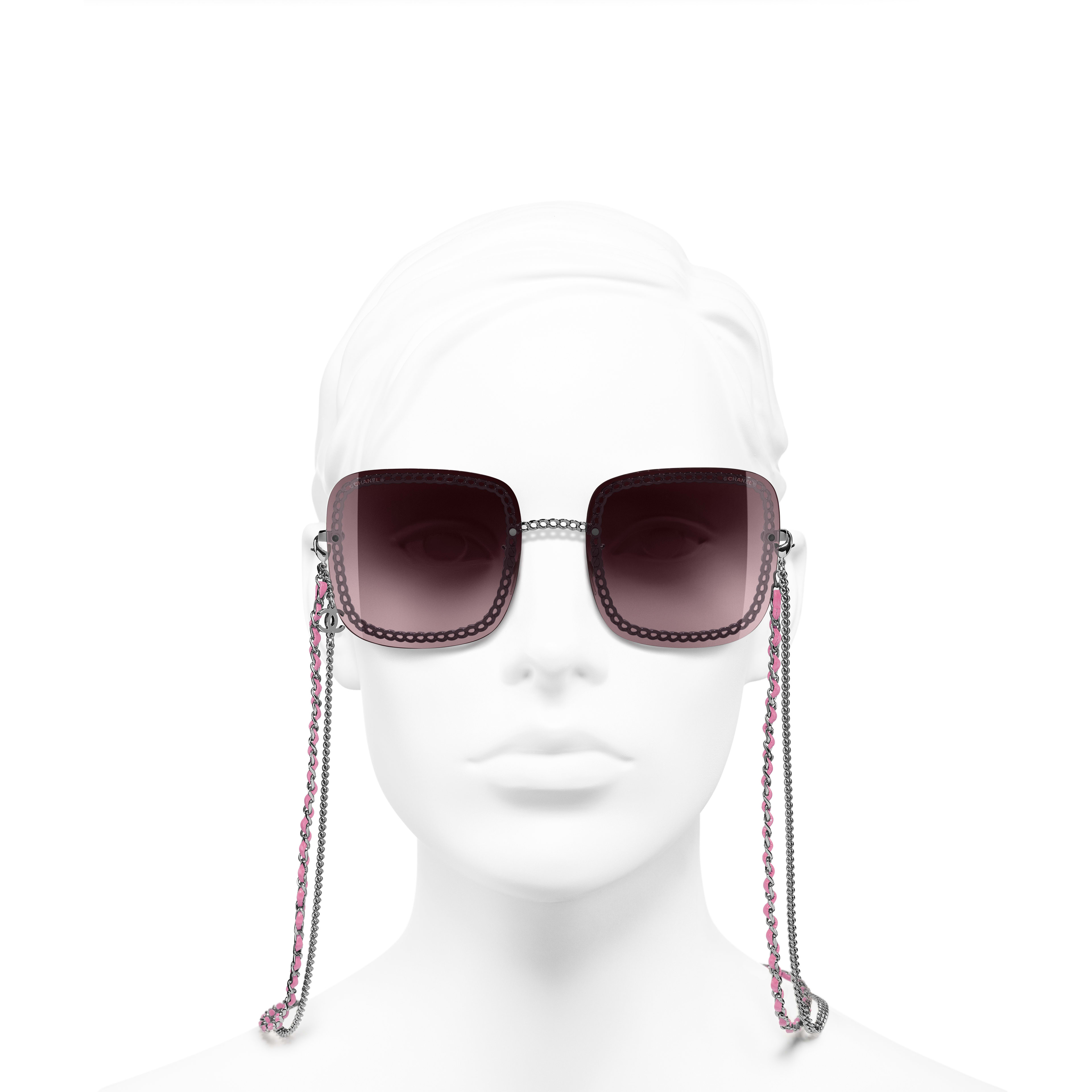 Square Sunglasses - Dark Silver - Metal & Calfskin - Worn front view - see standard sized version