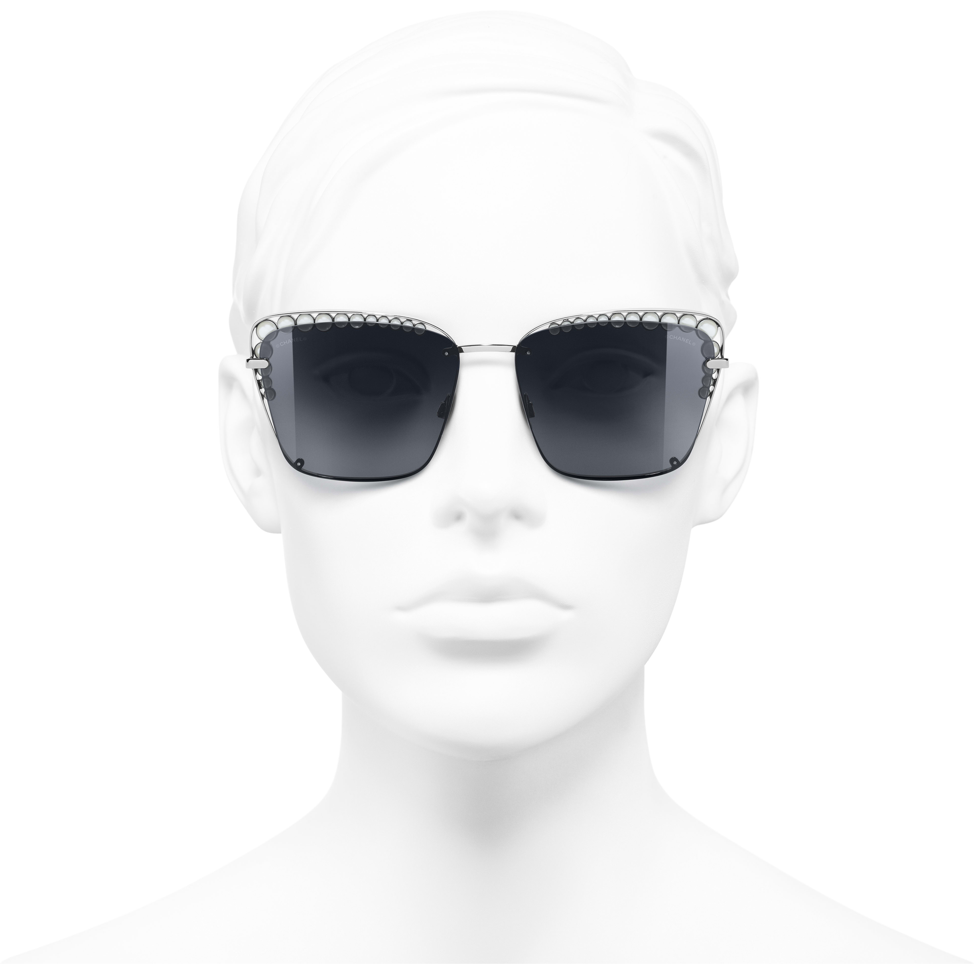 Square Sunglasses - Dark Silver - Metal & Imitation Pearls - Worn front view - see standard sized version
