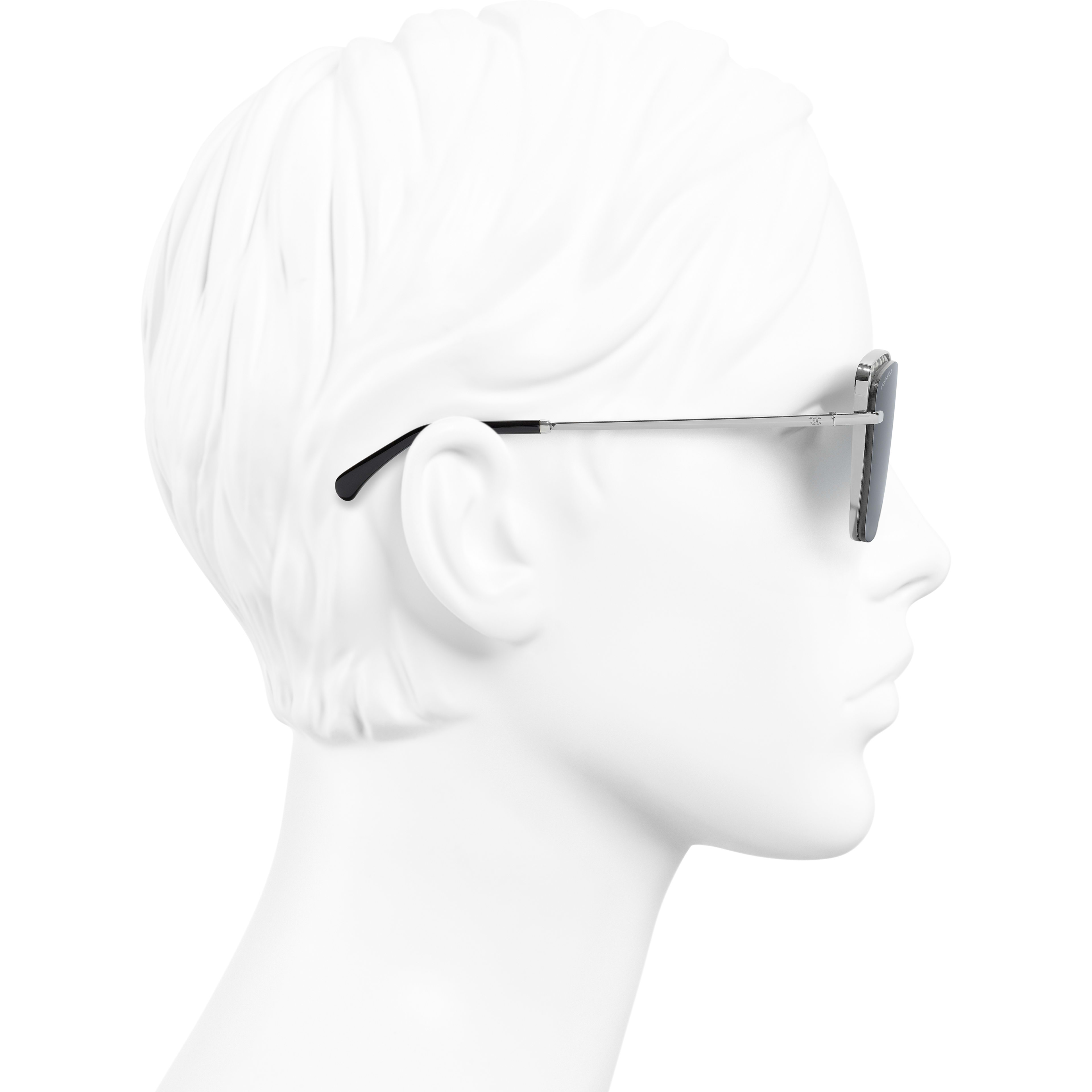 Square Sunglasses - Dark Silver - Metal & Imitation Pearls - Worn side view - see standard sized version