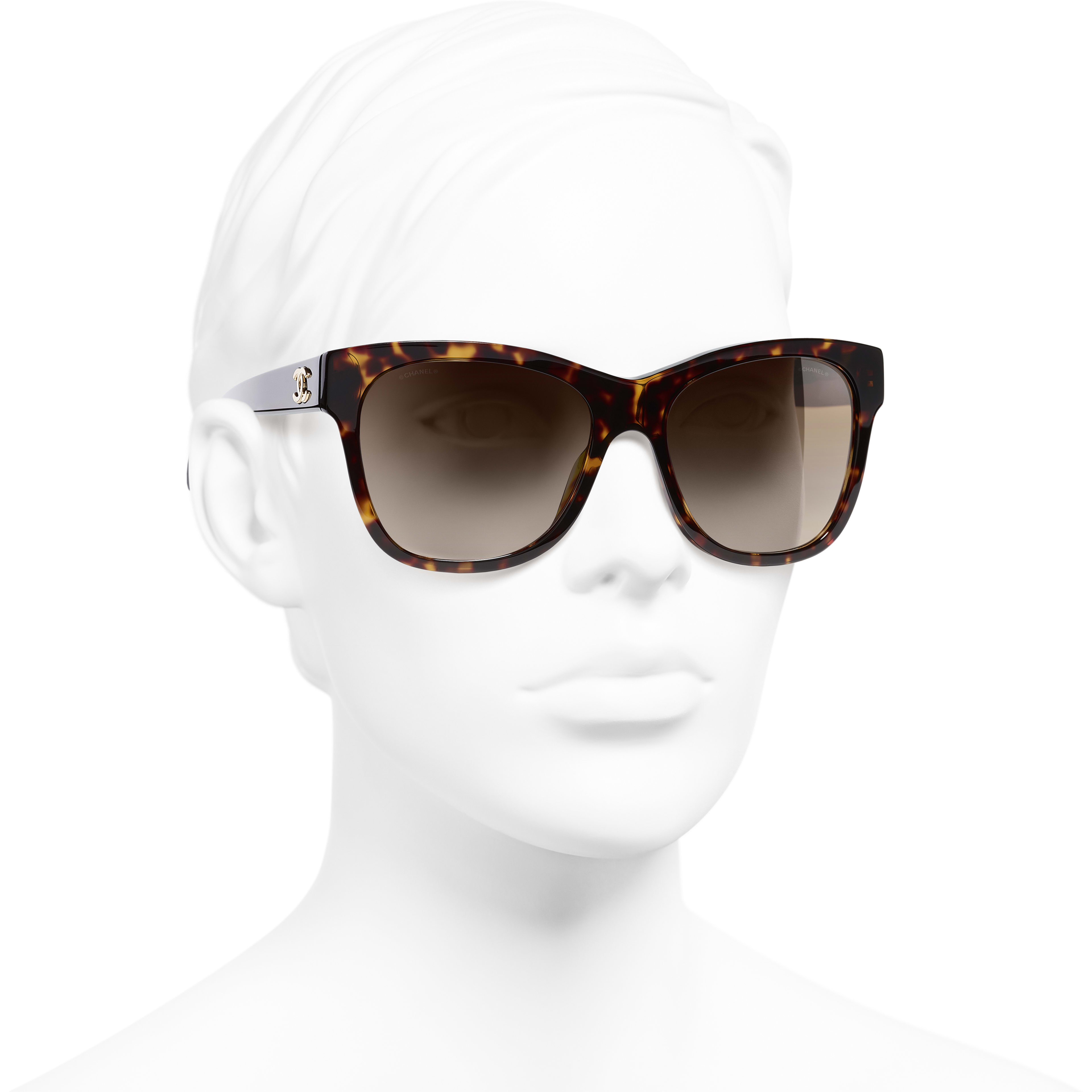 Square Sunglasses - Dark Tortoise - Acetate - CHANEL - Worn 3/4 view - see standard sized version