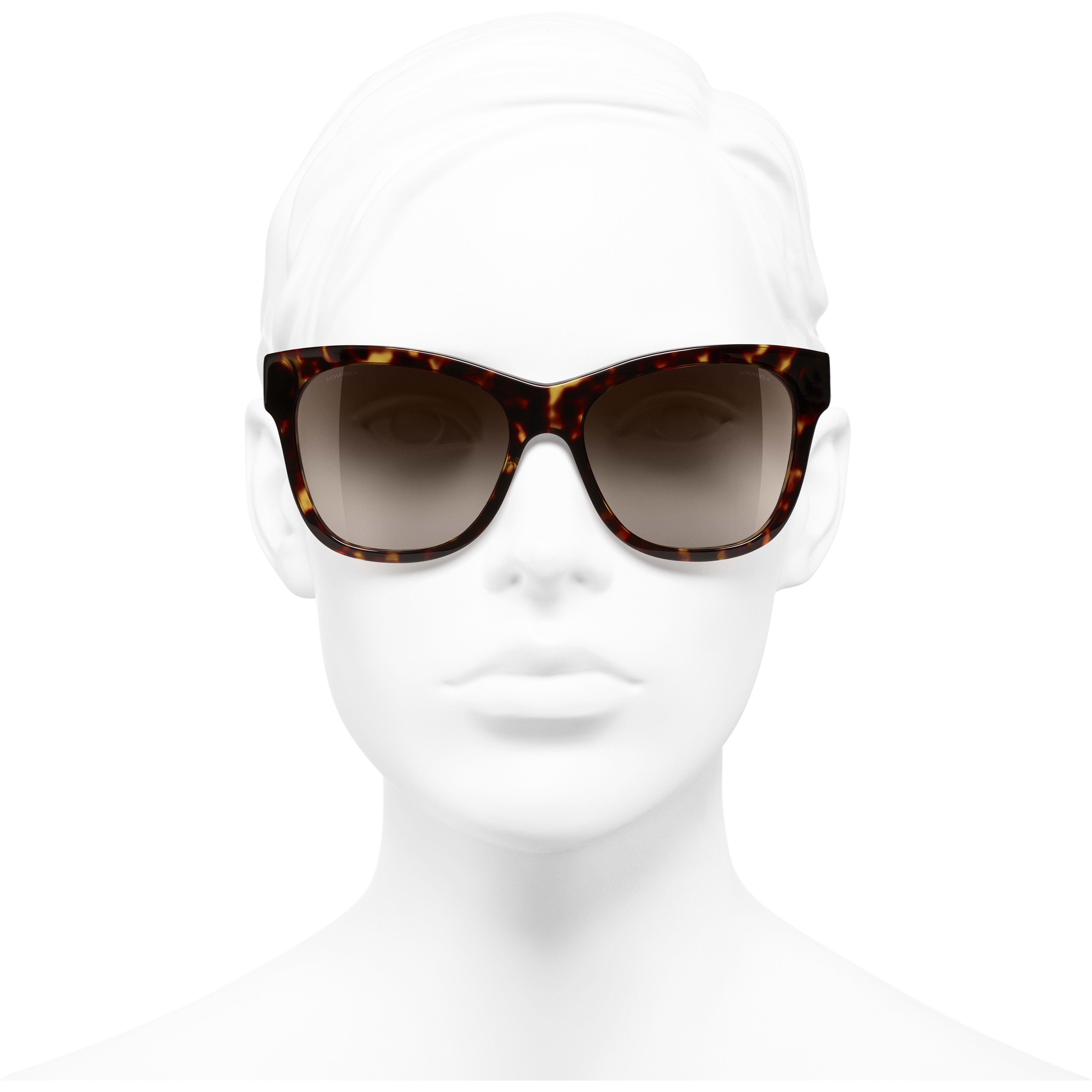 Square Sunglasses - Dark Tortoise - Acetate - CHANEL - Worn front view - see standard sized version