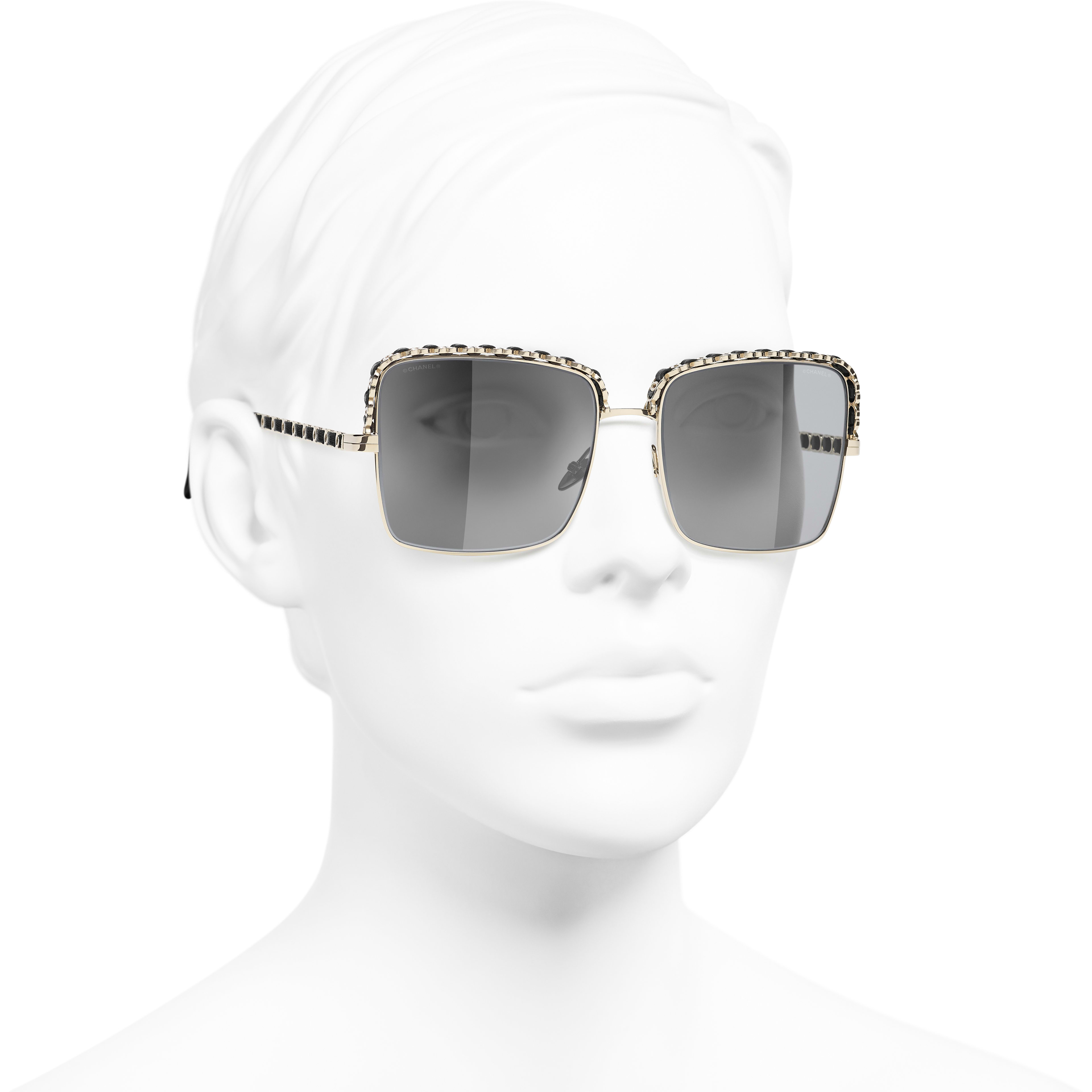 Square Sunglasses - Gold - Metal & Calfskin - CHANEL - Worn 3/4 view - see standard sized version