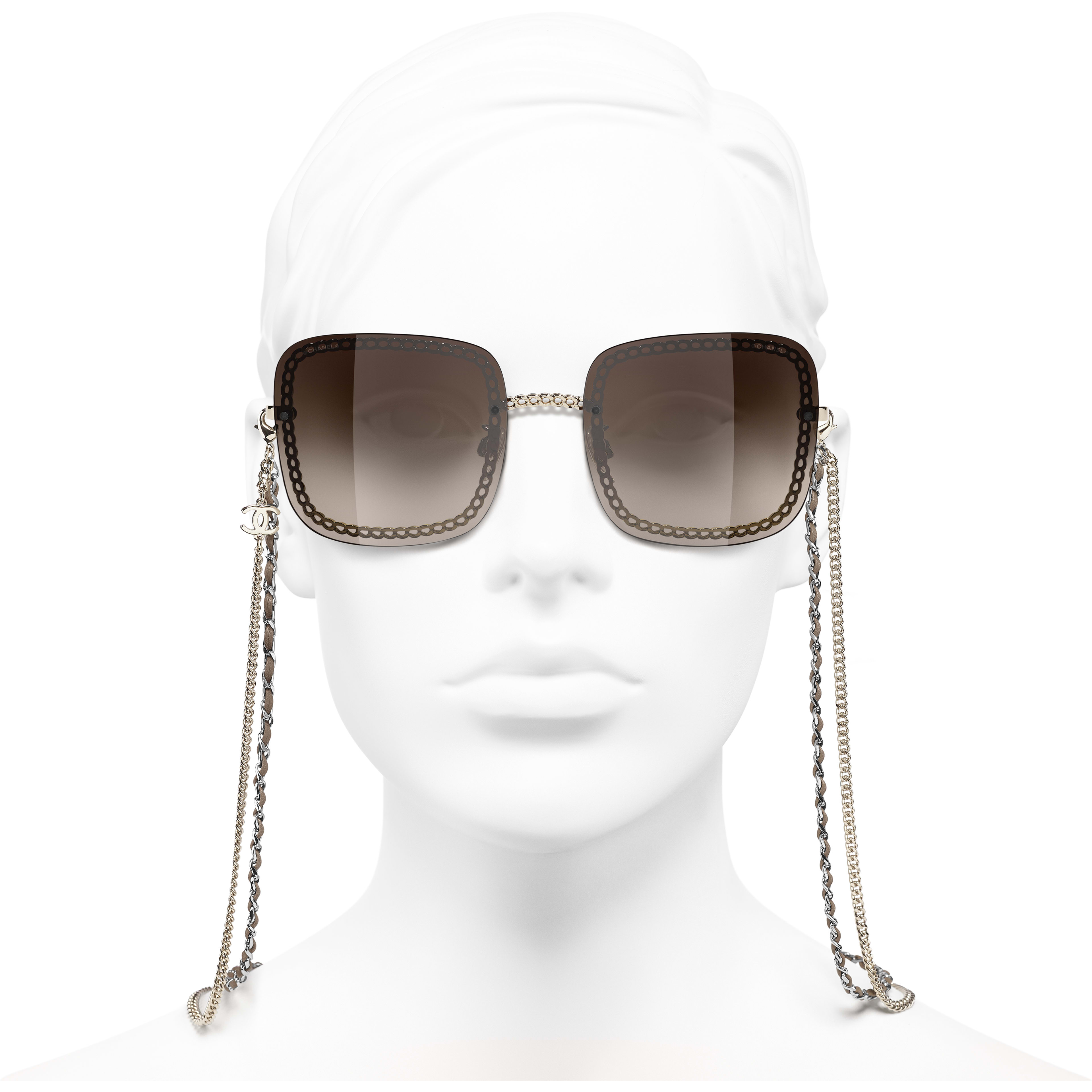 Square Sunglasses - Gold - Metal & Calfskin - CHANEL - Worn front view - see standard sized version