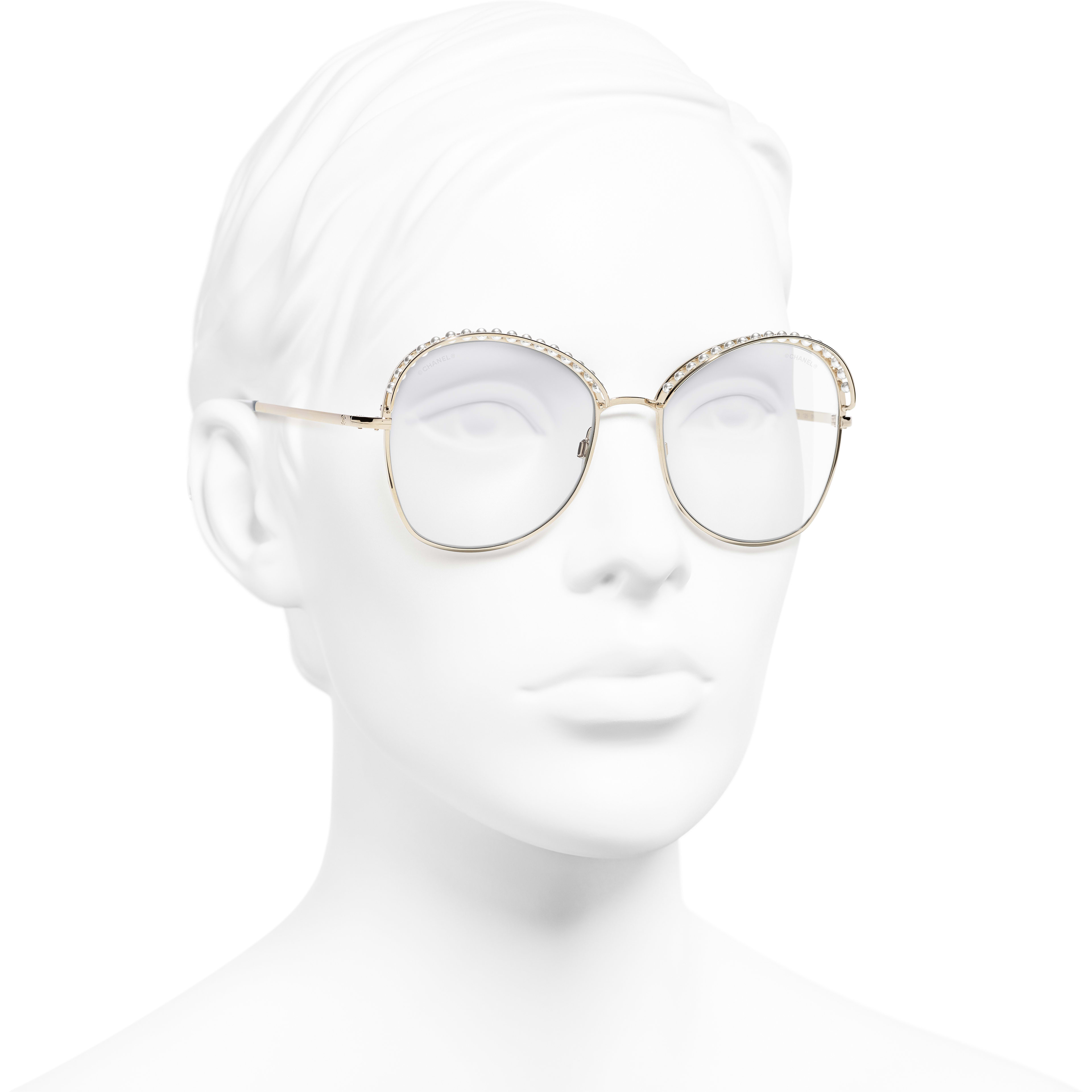Square Sunglasses - Gold - Metal & Imitation Pearls - Worn 3/4 view - see standard sized version