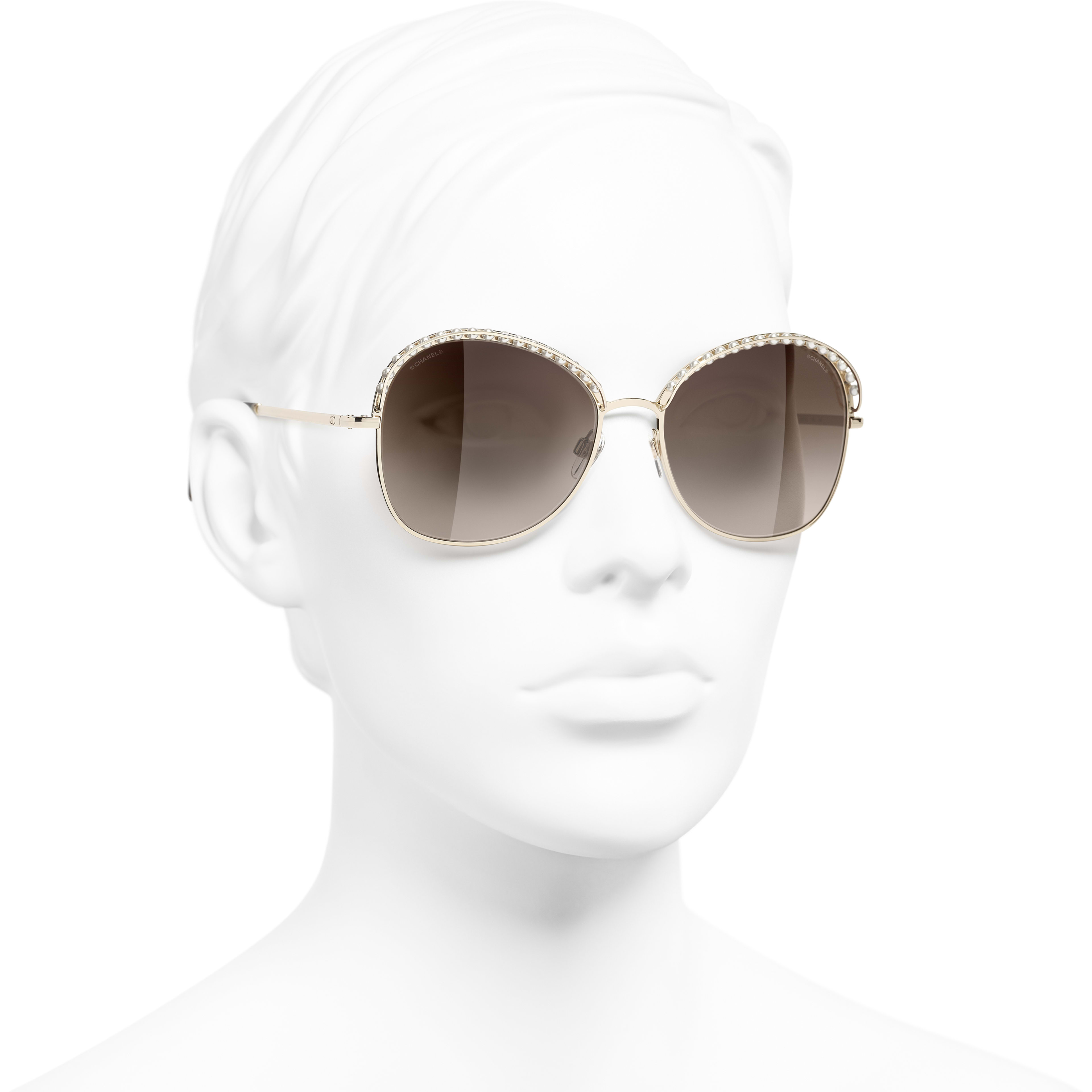 Square Sunglasses - Gold - Metal & Imitation Pearls - CHANEL - Worn 3/4 view - see standard sized version
