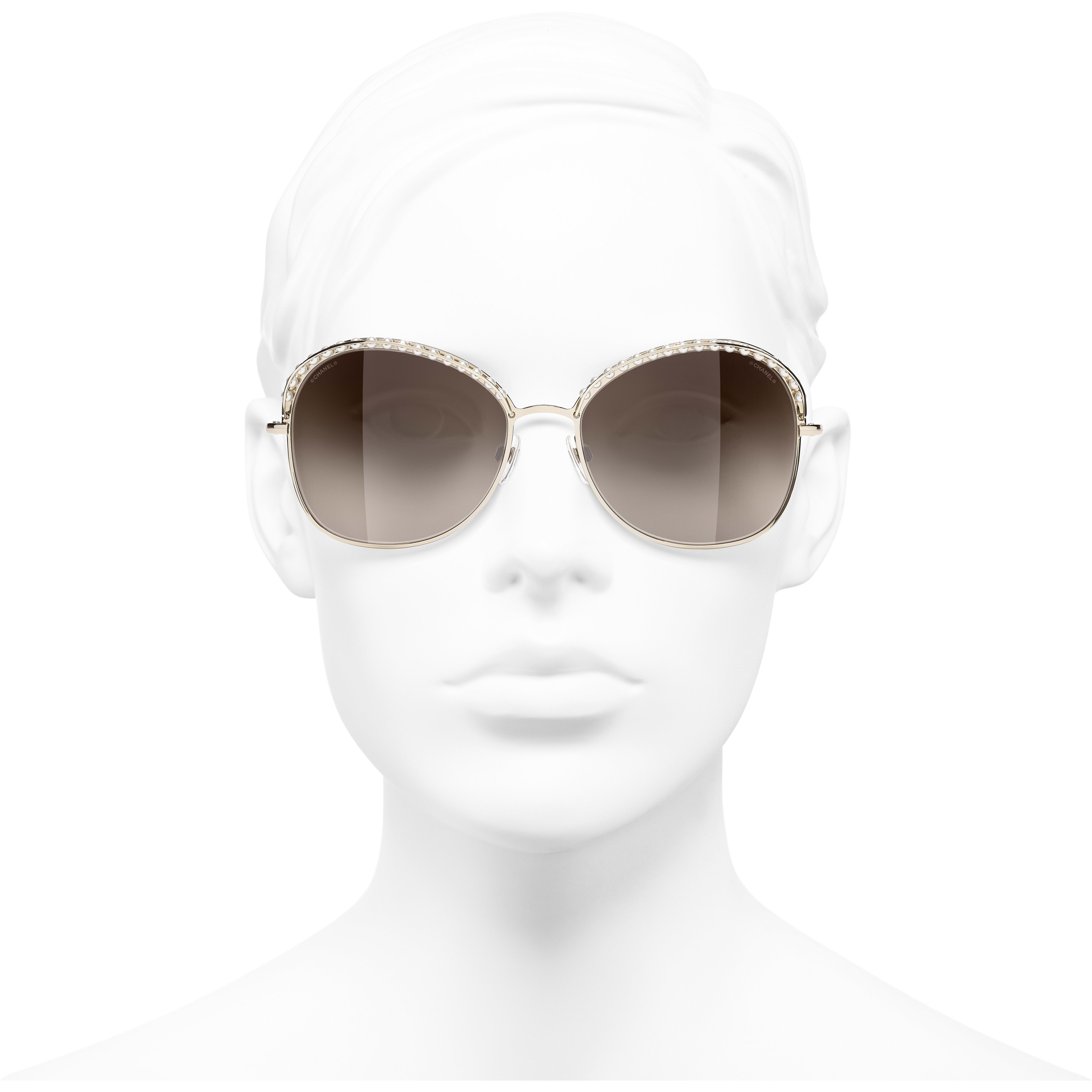 Square Sunglasses - Gold - Metal & Imitation Pearls - CHANEL - Worn front view - see standard sized version
