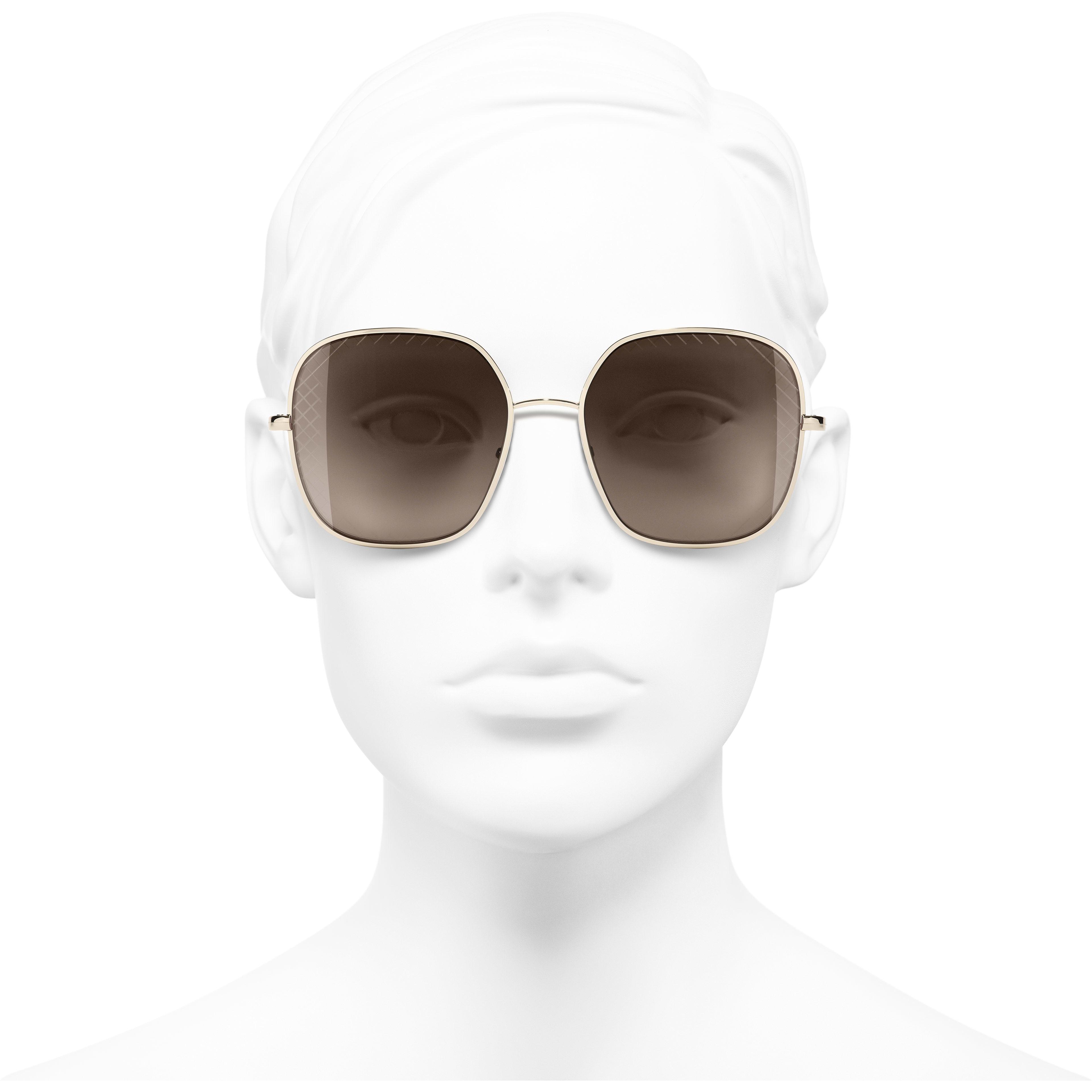 Солнцезащитные очки квадратной формы - Золотистый - Металл - Вид анфас - посмотреть изображение стандартного размера