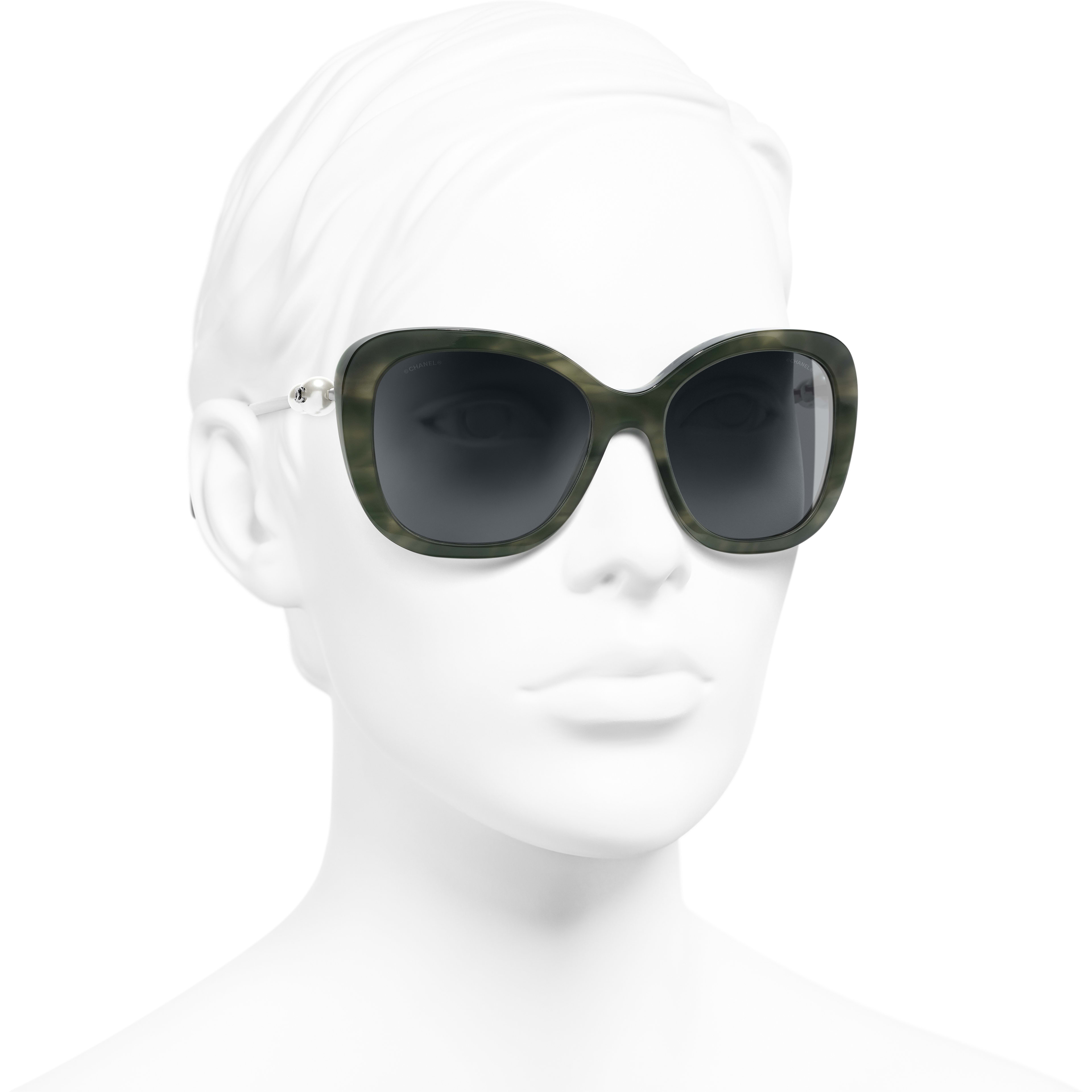 Square Sunglasses - Green Tortoise - Acetate & Imitation Pearls - CHANEL - Worn 3/4 view - see standard sized version