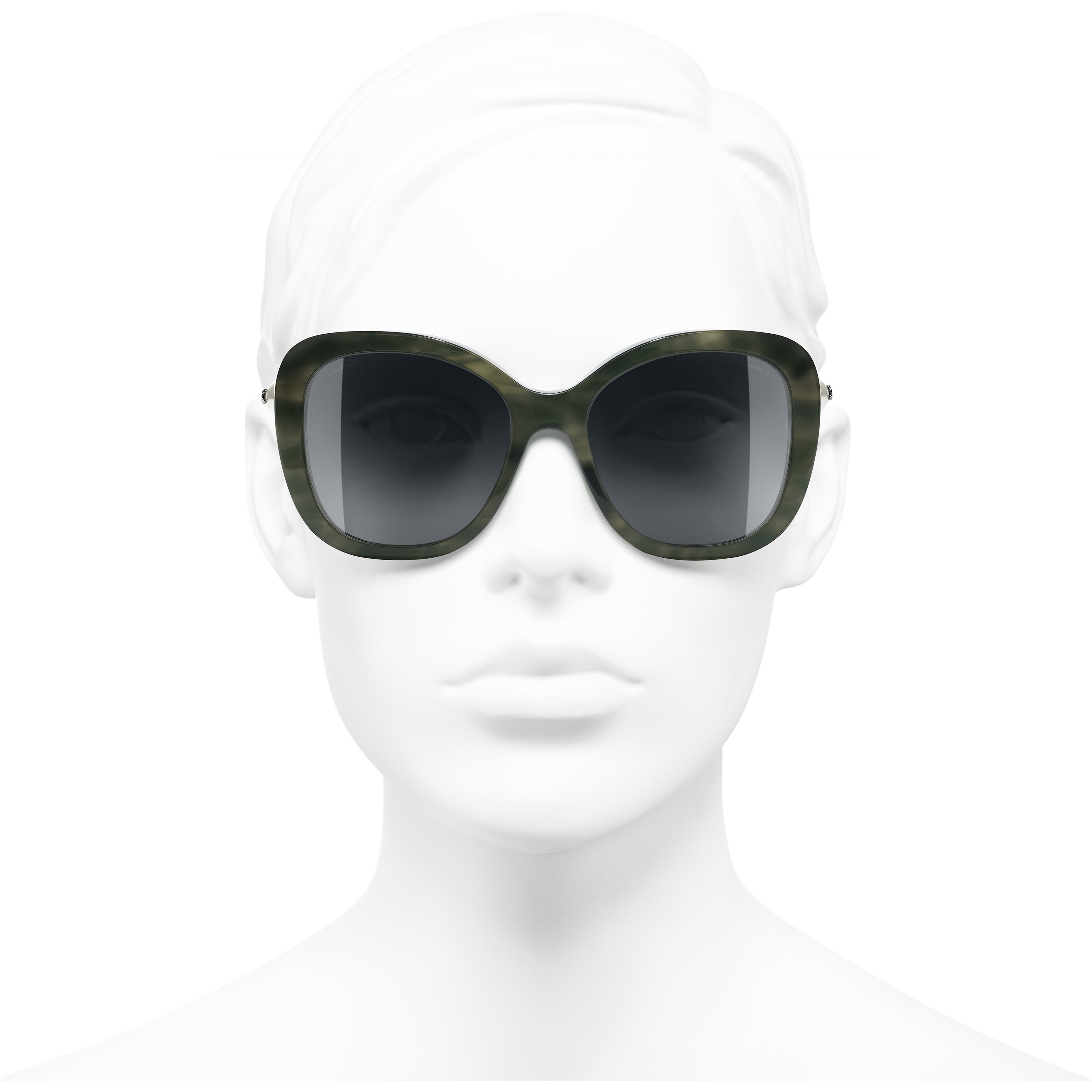 Square Sunglasses - Green Tortoise - Acetate & Imitation Pearls - CHANEL - Worn front view - see standard sized version