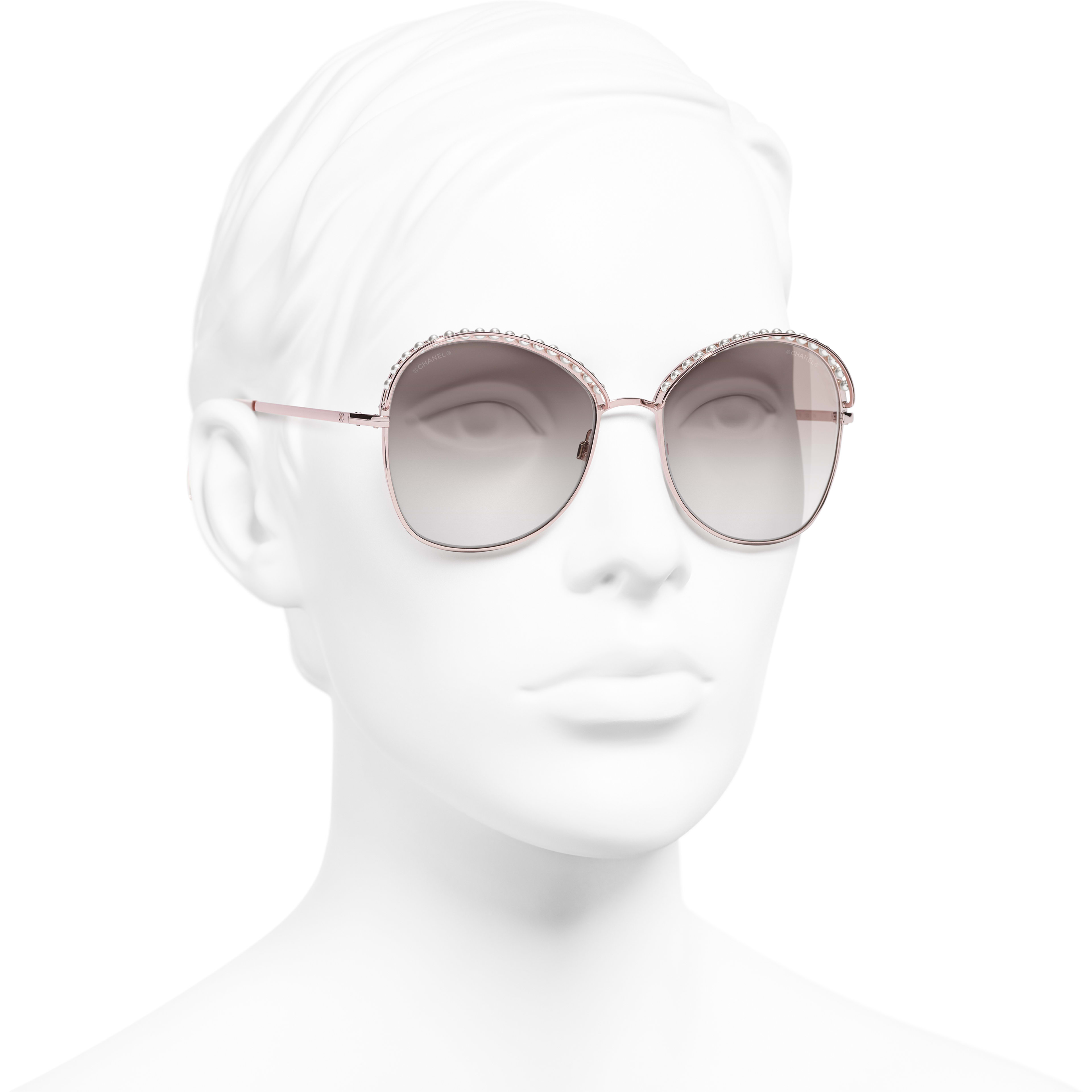 Square Sunglasses - Pinky Gold - Metal & Imitation Pearls - CHANEL - Worn 3/4 view - see standard sized version