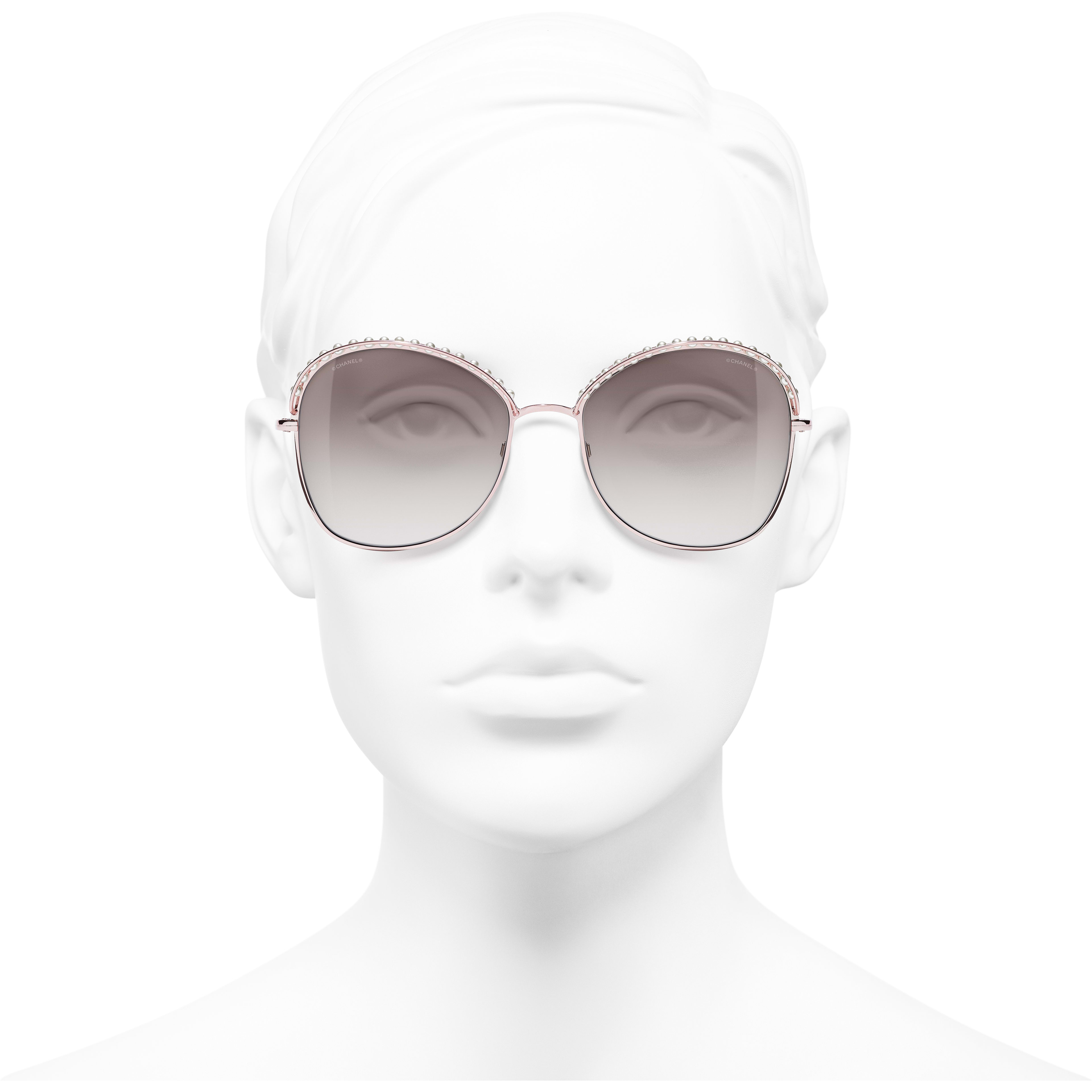 Square Sunglasses - Pinky Gold - Metal & Imitation Pearls - CHANEL - Worn front view - see standard sized version