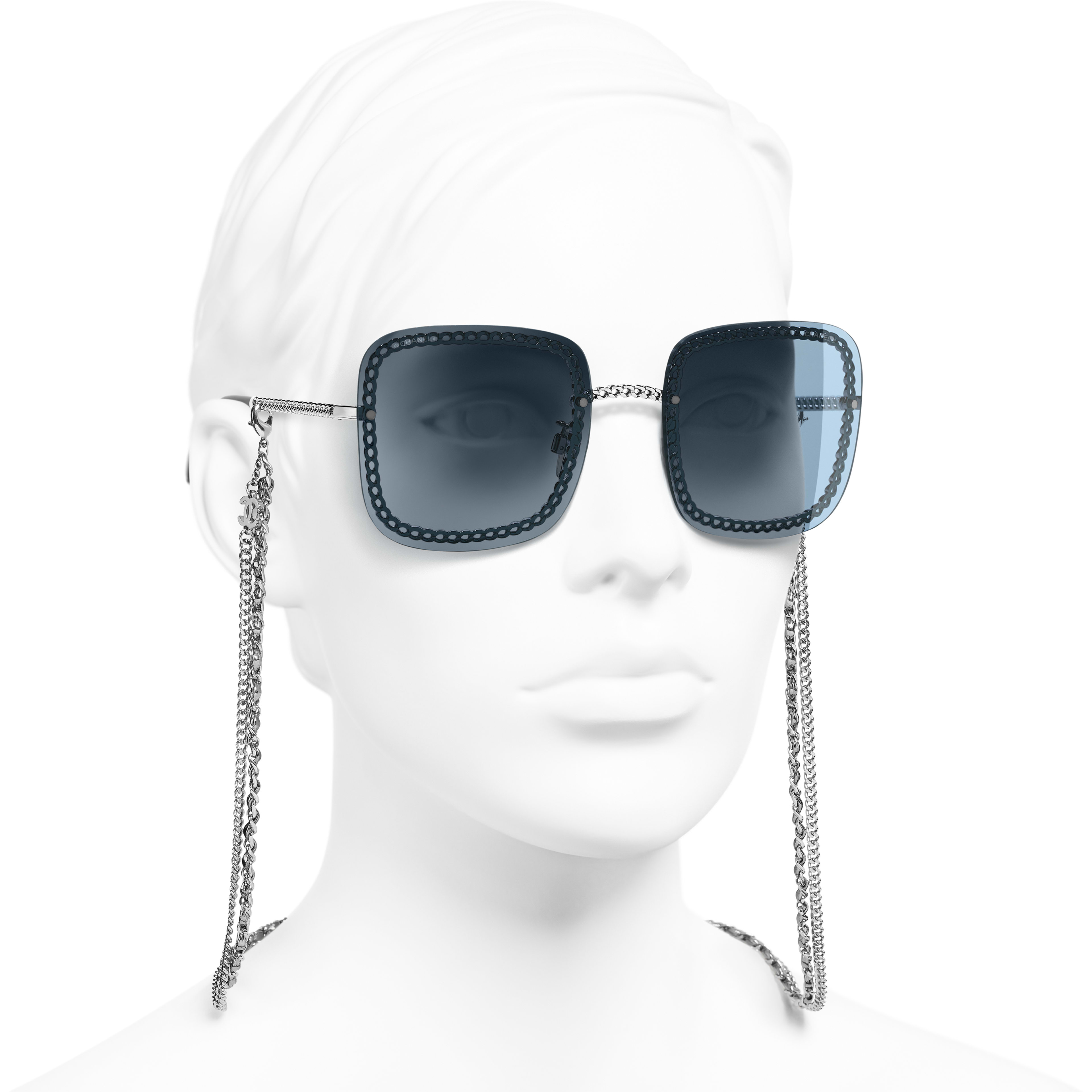 Square Sunglasses - Silver - Metal & Calfskin - Worn 3/4 view - see standard sized version