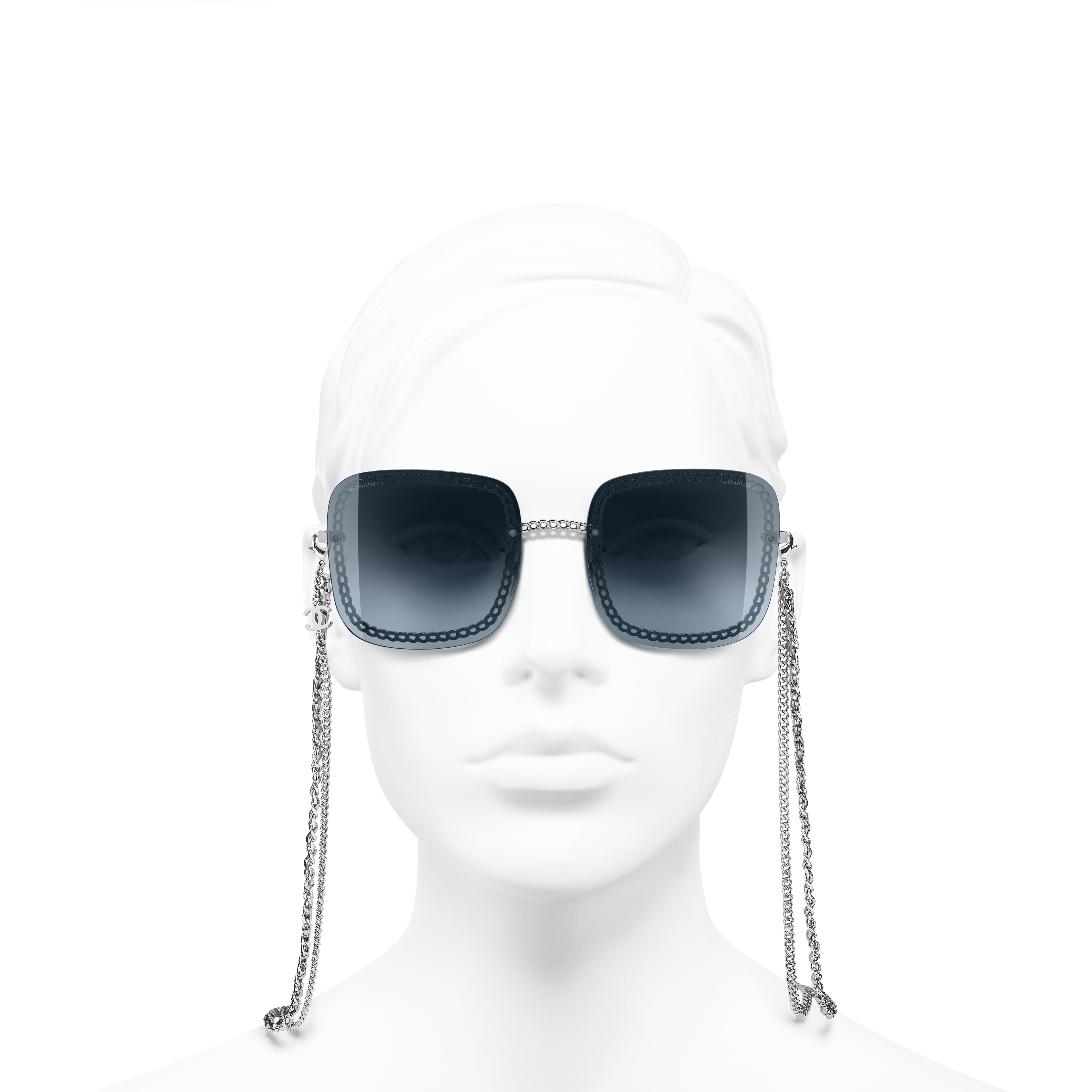 Square Sunglasses - Silver - Metal & Calfskin - Worn front view - see standard sized version