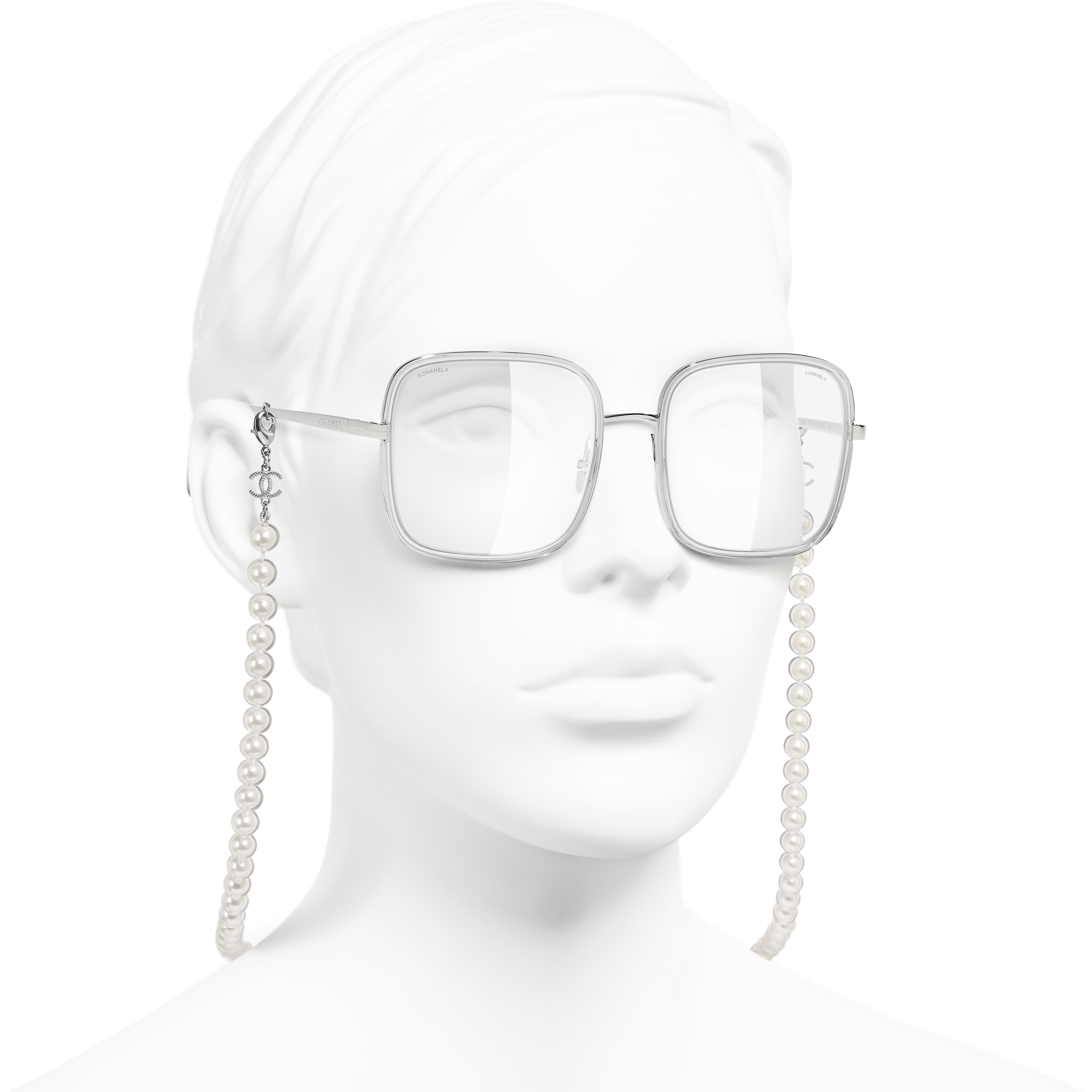 Square Sunglasses - Silver - Metal, Resin & Glass Pearls - CHANEL - Worn 3/4 view - see standard sized version