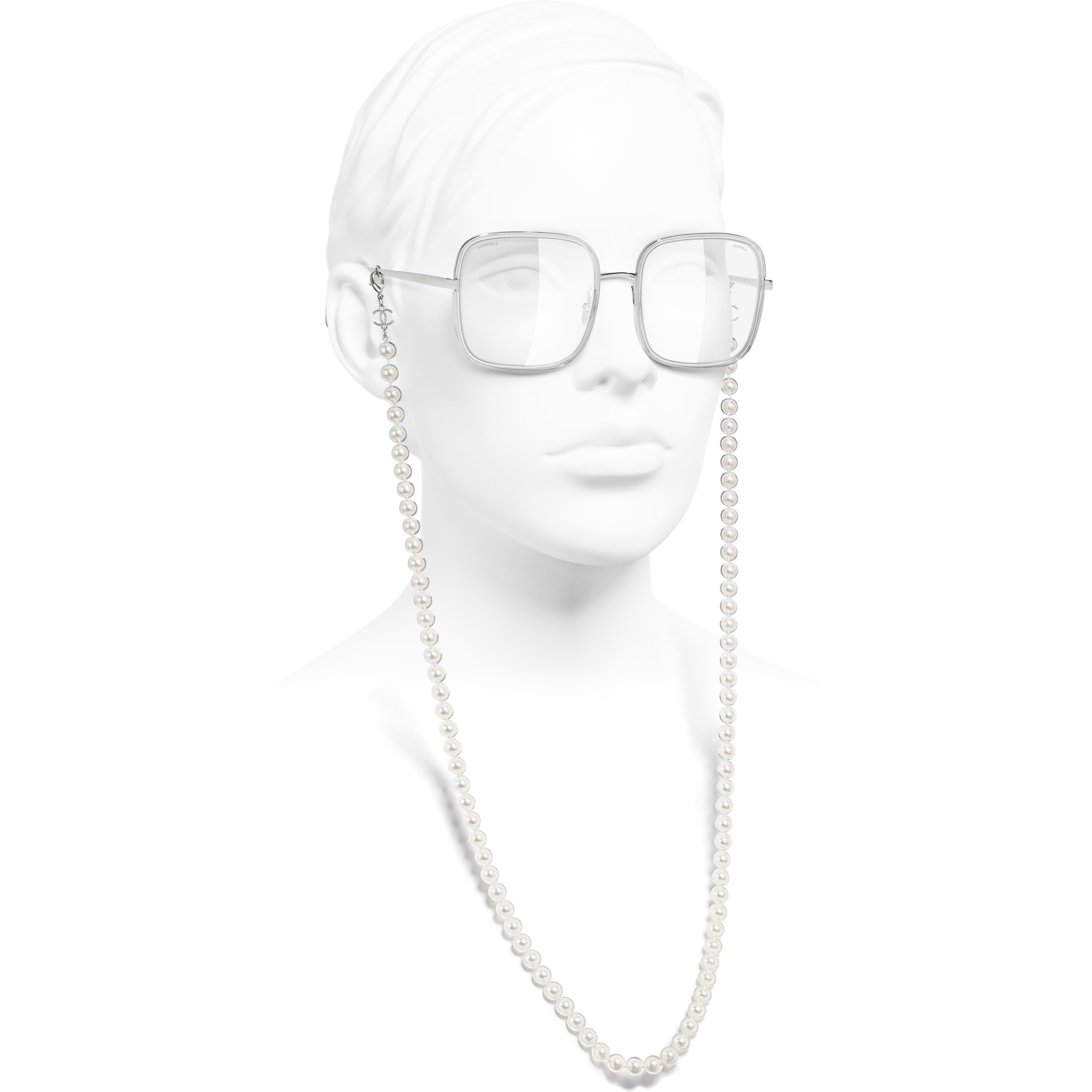 Square Sunglasses - Silver - Metal, Resin & Glass Pearls - CHANEL - Worn side view - see standard sized version