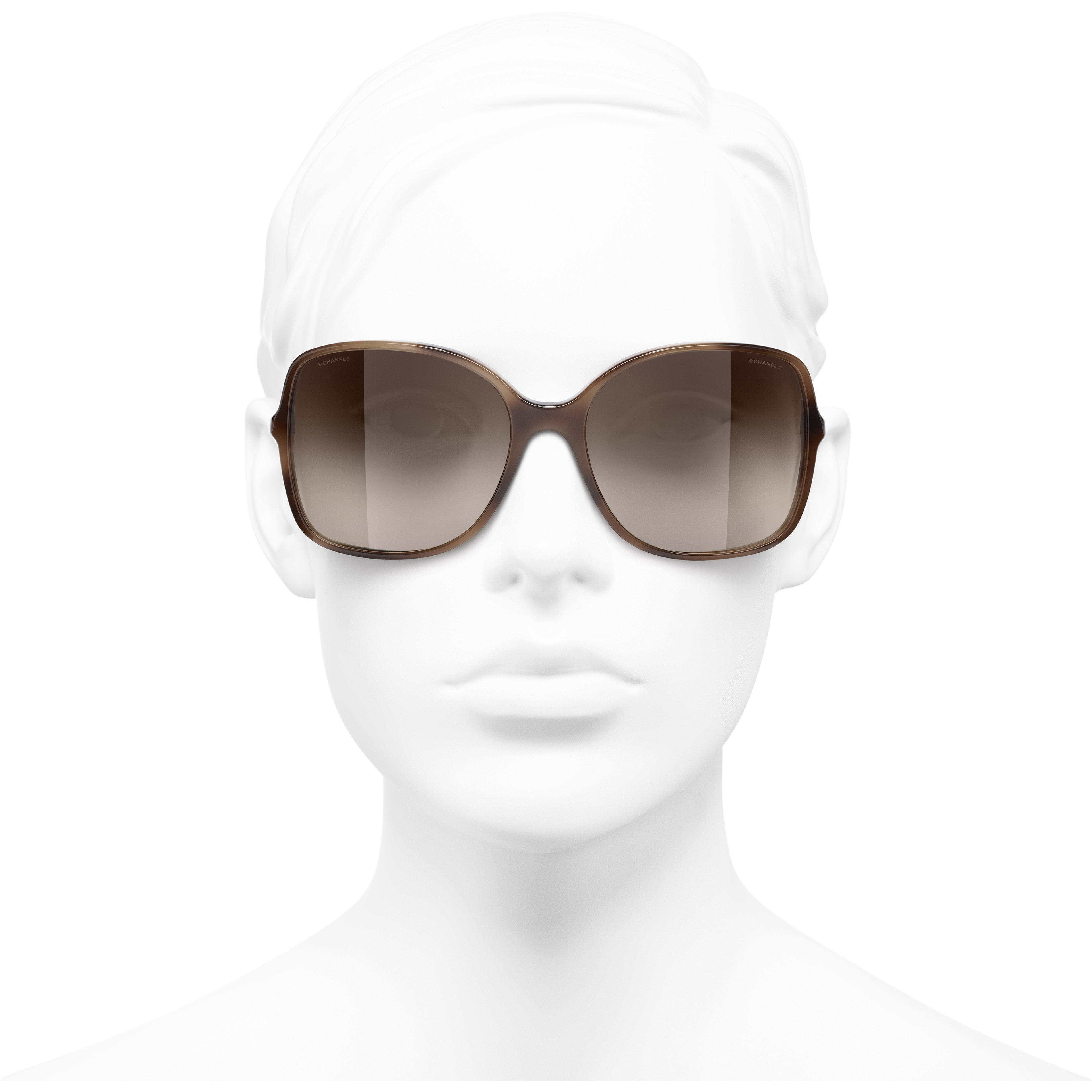 Square Sunglasses - Tortoise - Acetate & Lambskin - CHANEL - Worn front view - see standard sized version