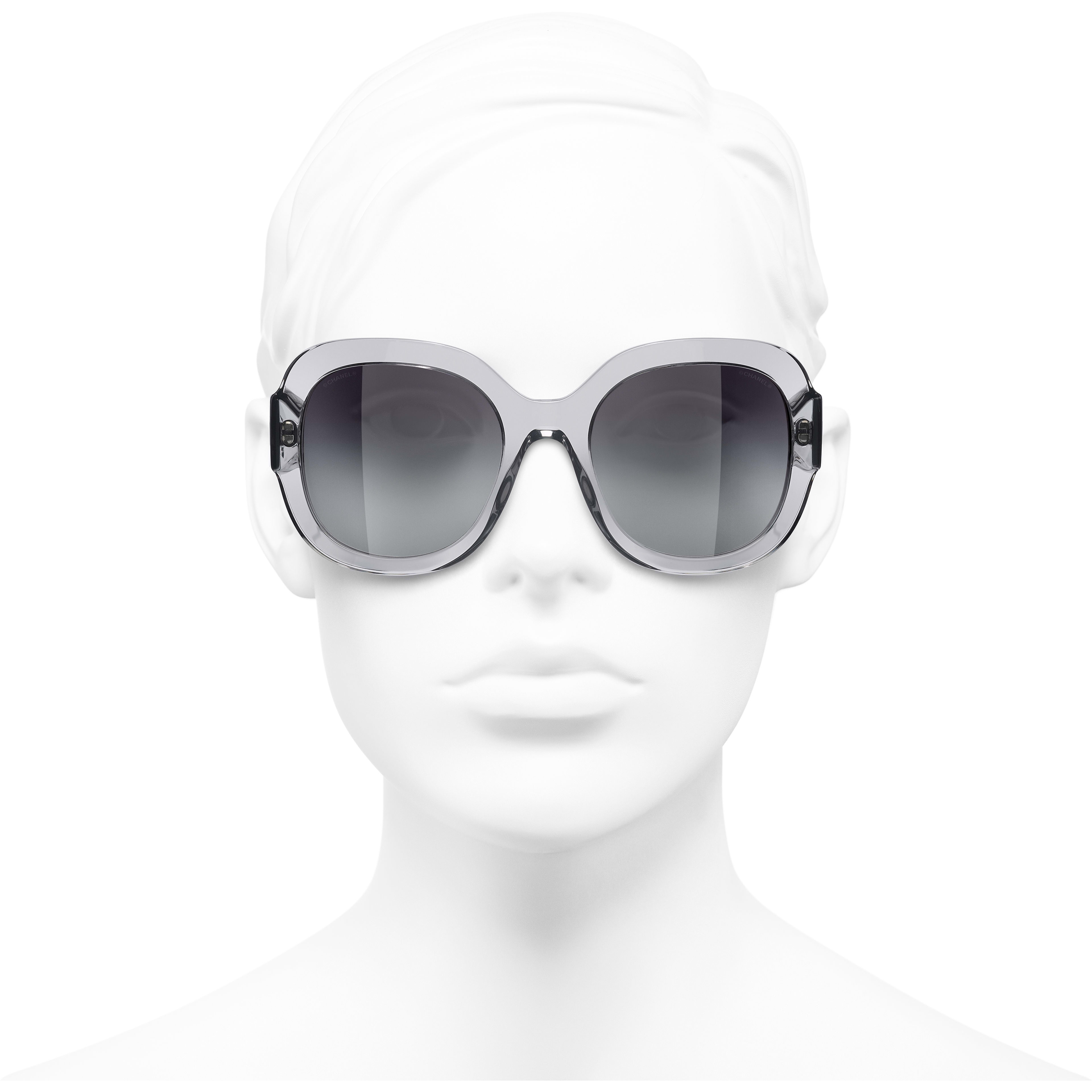 Square Sunglasses - Transparent Grey - Acetate & Metal - CHANEL - Worn front view - see standard sized version