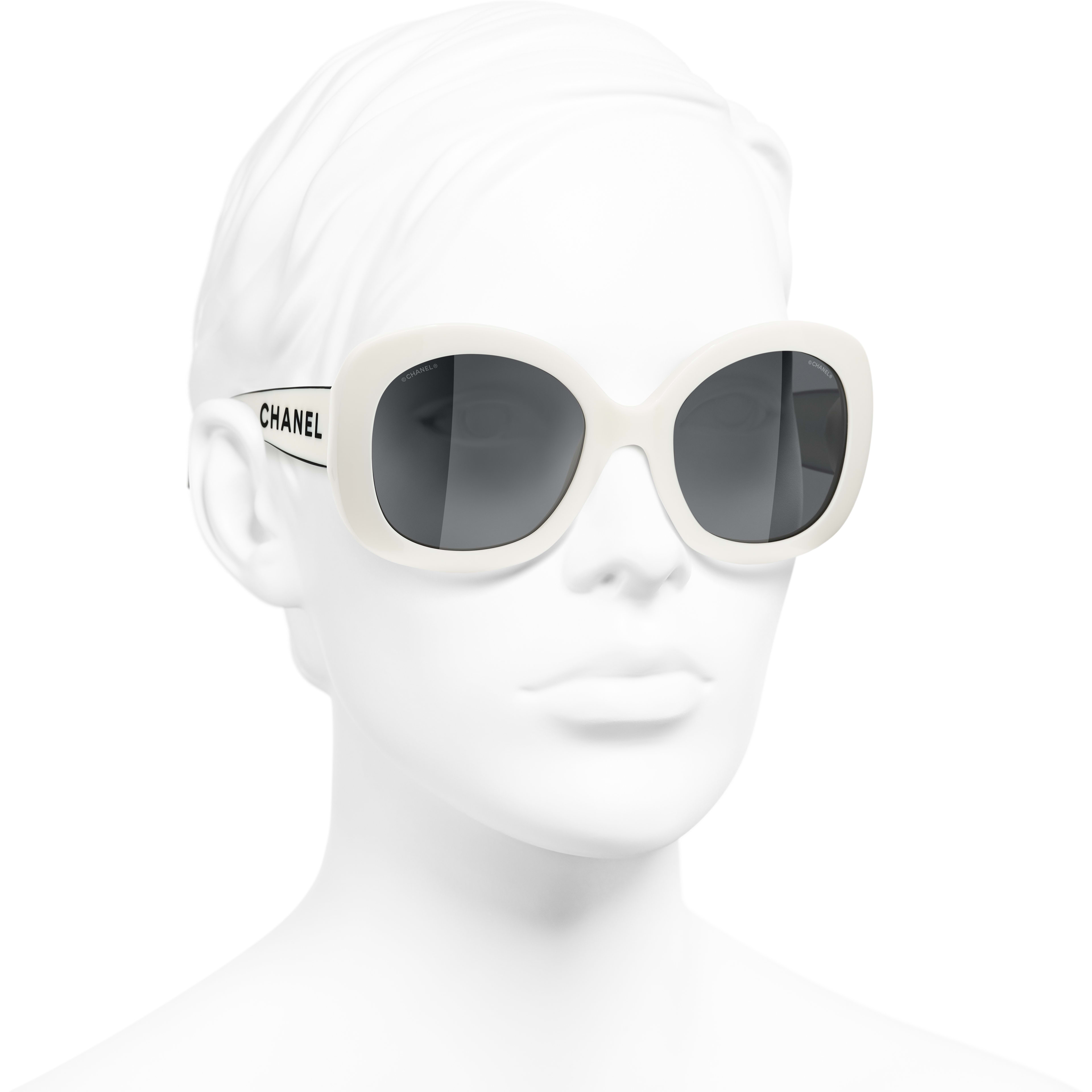 Square Sunglasses - White - Acetate - CHANEL - Worn 3/4 view - see standard sized version