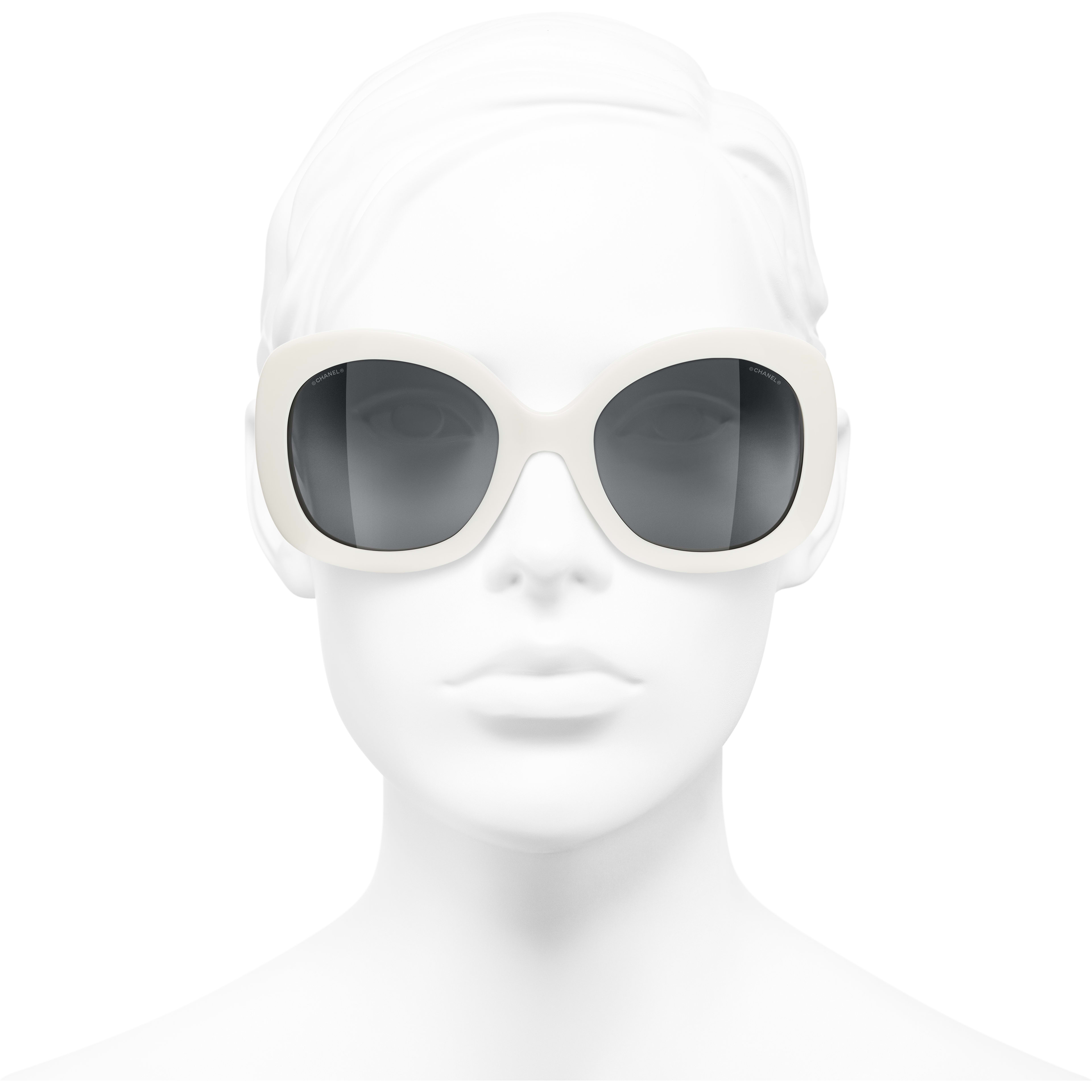 Square Sunglasses - White - Acetate - CHANEL - Worn front view - see standard sized version