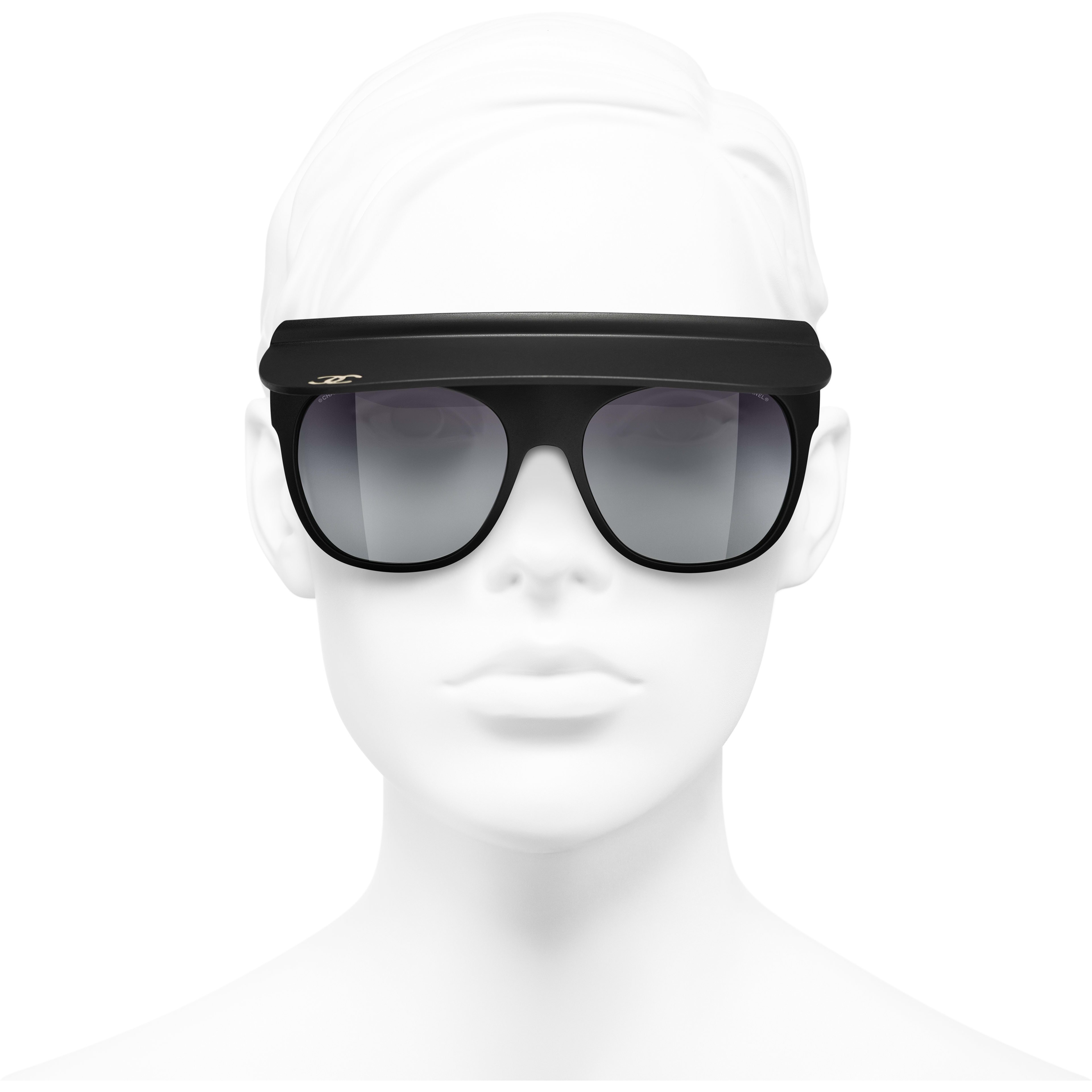 Visor Sunglasses - Black - Nylon Fibre - CHANEL - Worn front view - see standard sized version