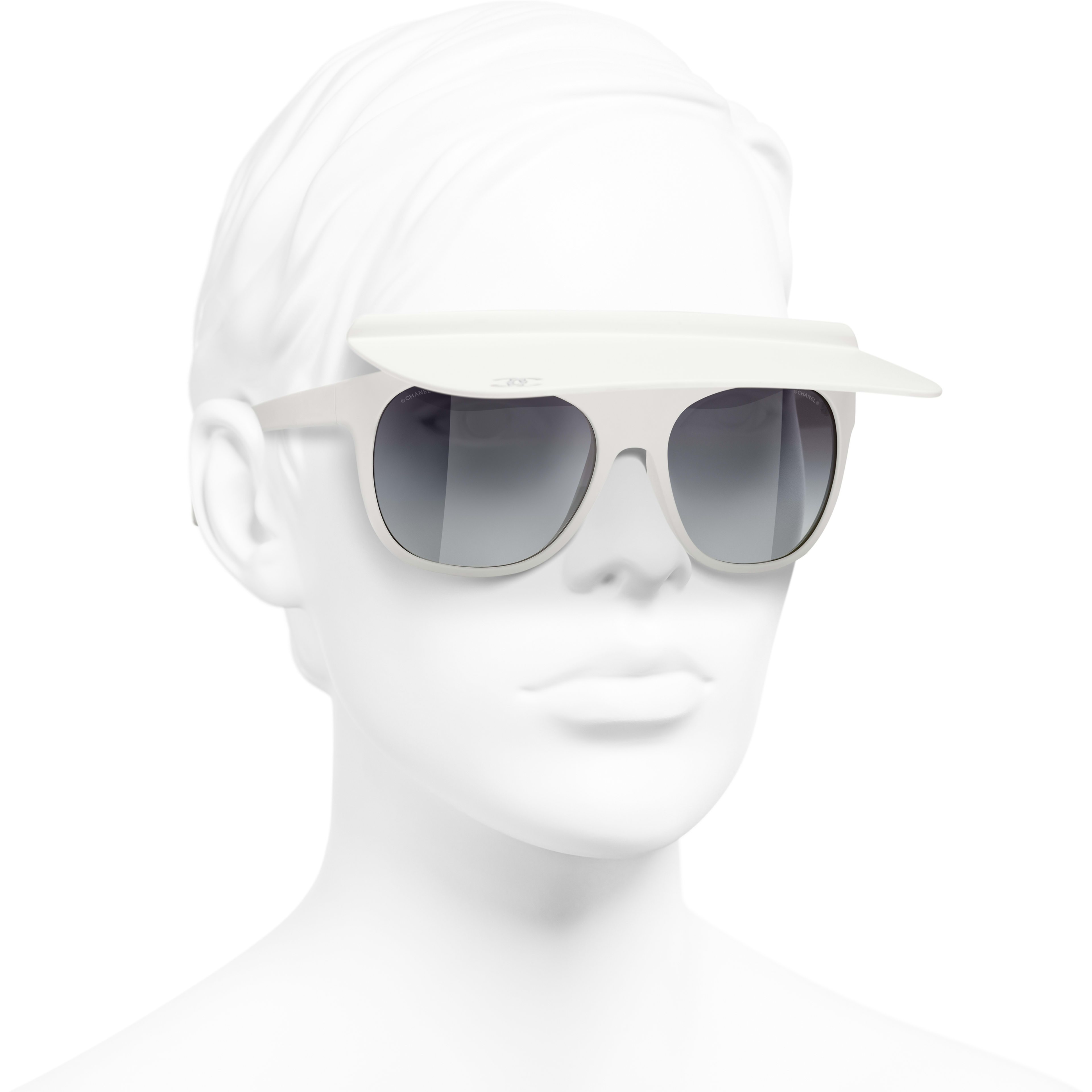 Visor Sunglasses - White - Nylon Fibre - CHANEL - Worn 3/4 view - see standard sized version