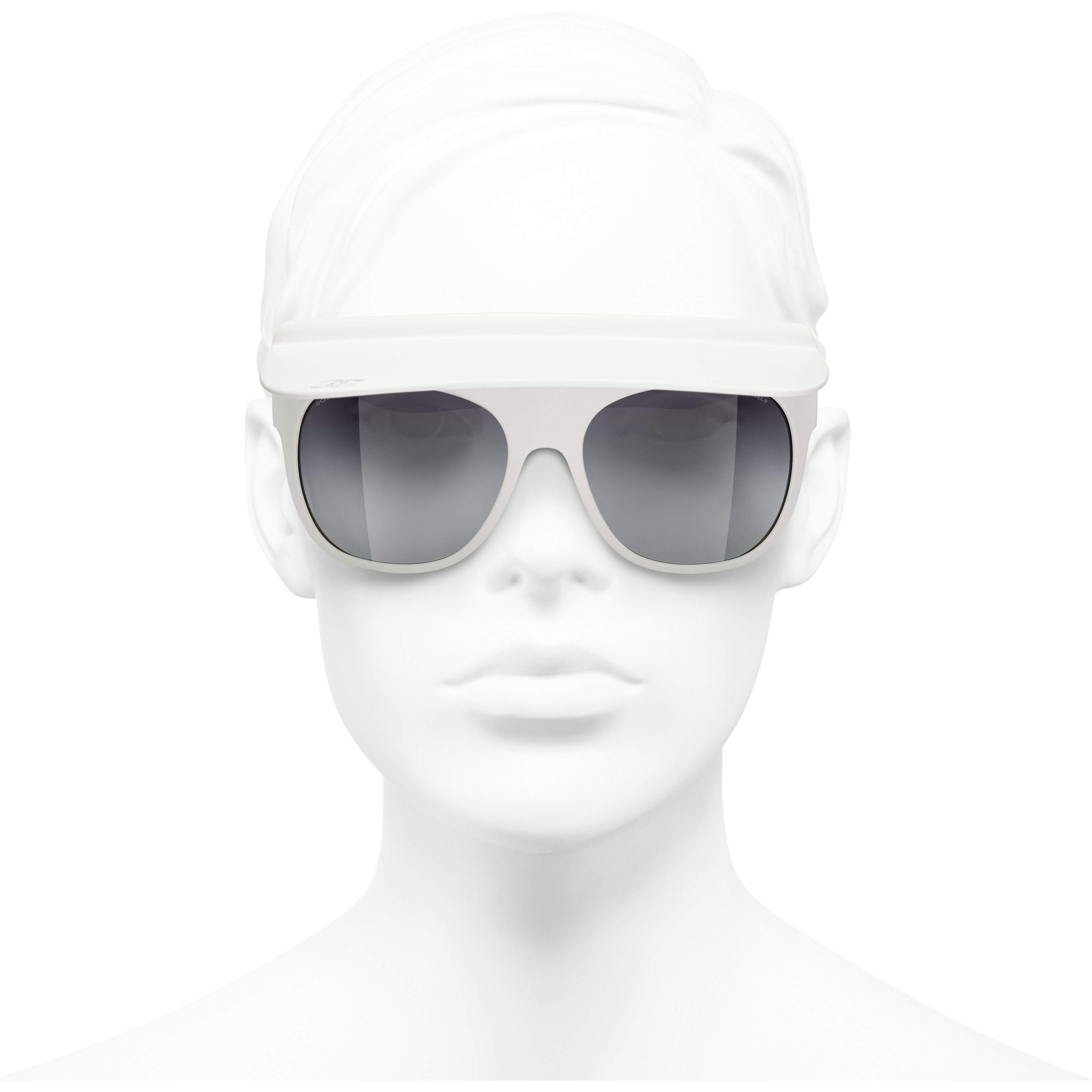 Visor Sunglasses - White - Nylon Fibre - CHANEL - Worn front view - see standard sized version