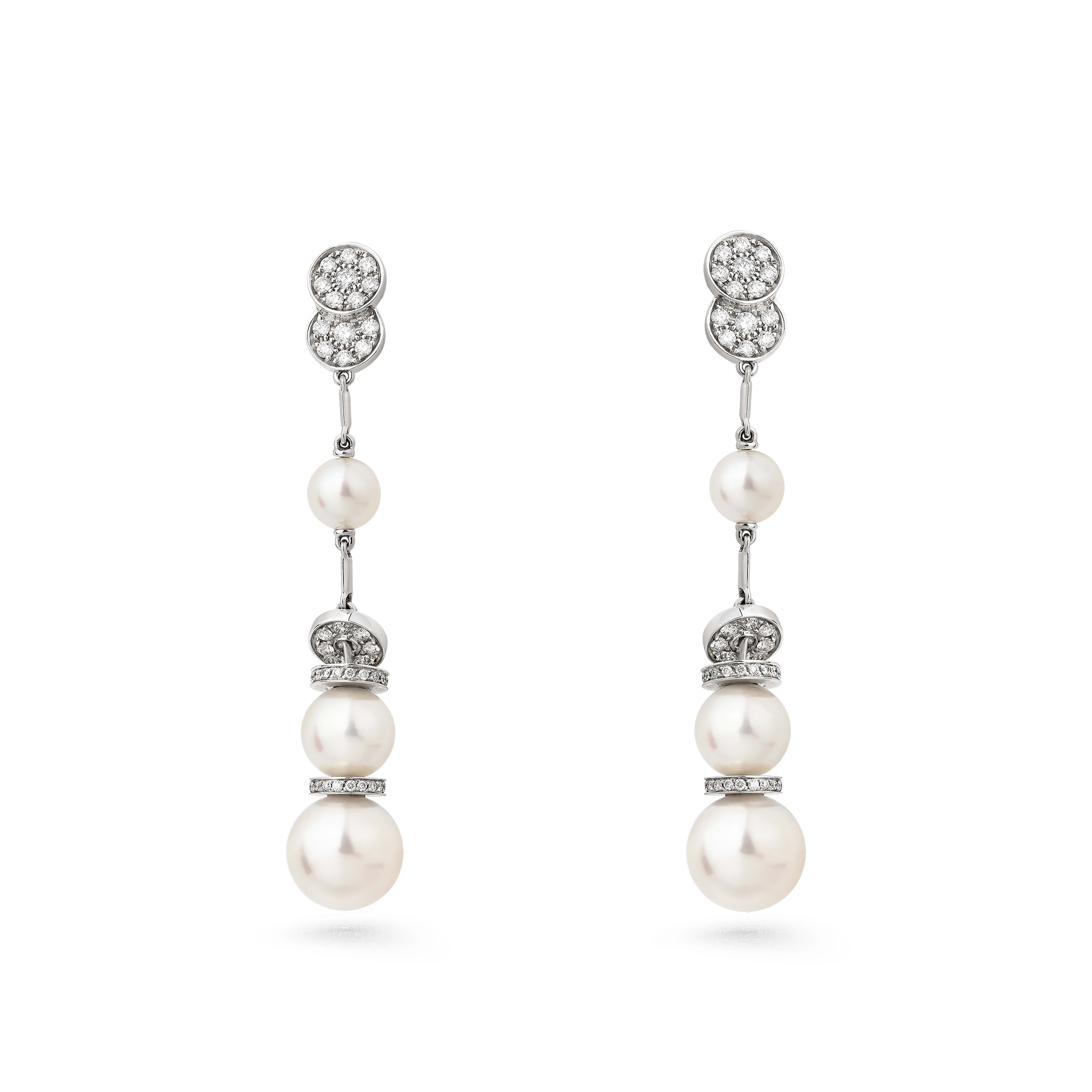 Baroque earrings - Perles Couture earrings in 18K white gold, cultured pearls and diamonds - Default view - see standard sized version