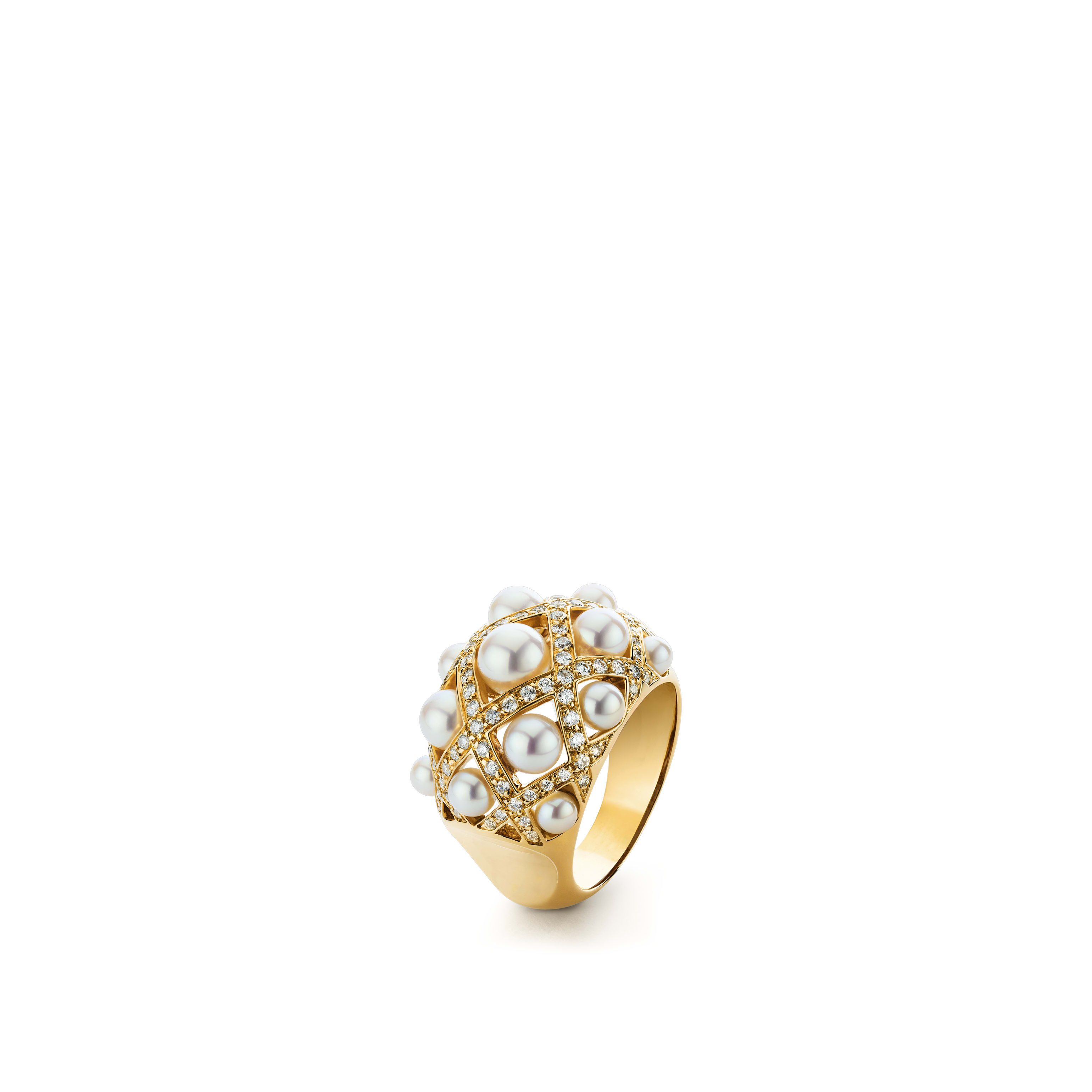 Baroque Ring - Baroque quilted ring in 18K yellow gold, cultured pearls and diamonds. Medium version. - Default view - see standard sized version