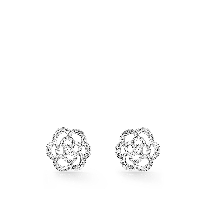Camélia Ajouré earrings - 18K white gold, diamonds - CHANEL - Default view - see standard sized version