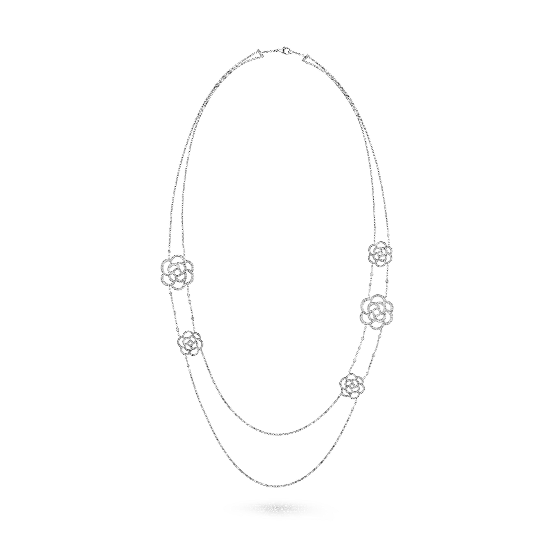 Colar longo Camélia Ajouré - Ouro branco de 18 quilates, diamantes - CHANEL - Vista predefinida - ver a versão em tamanho standard