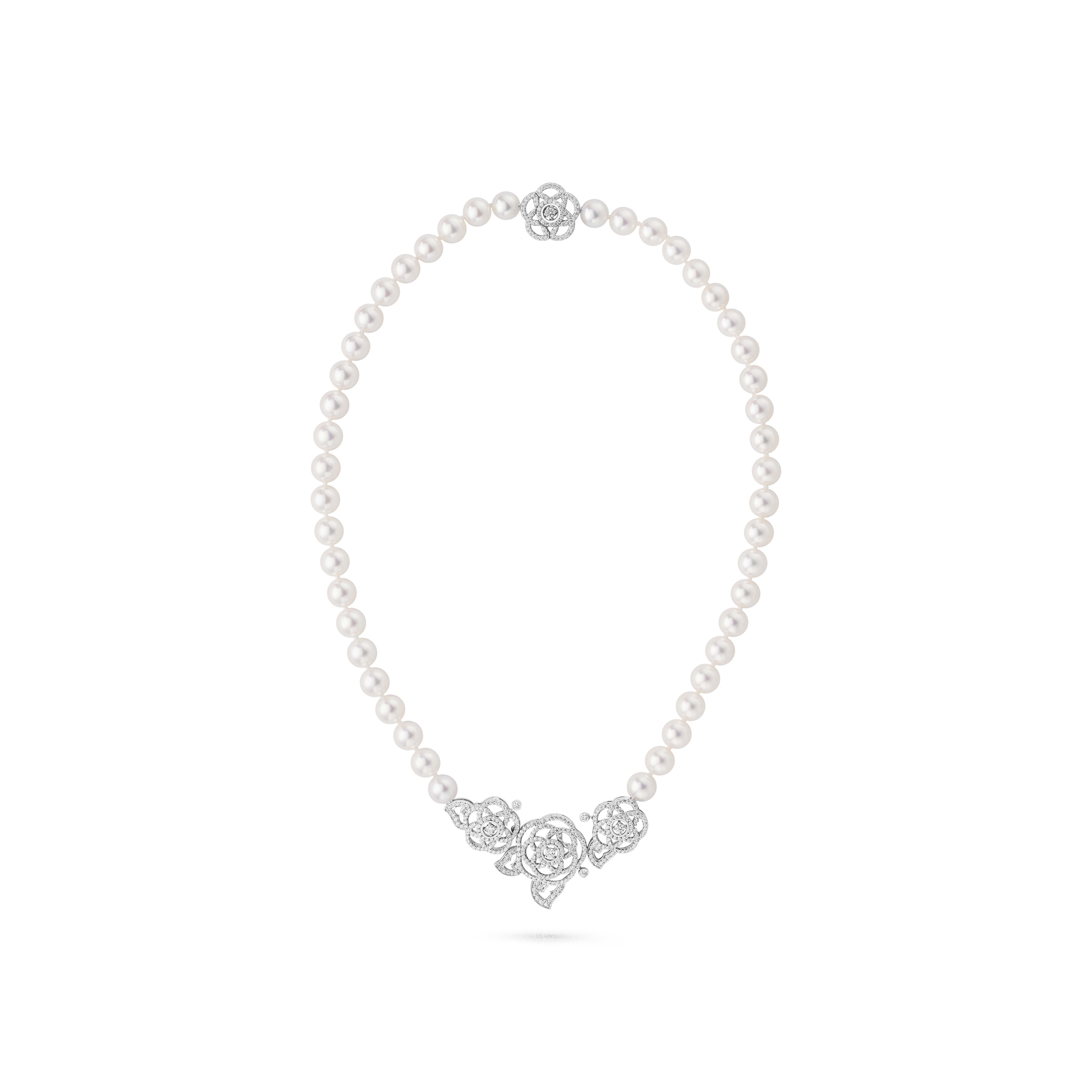 Camélia Brodé necklace - 18K white gold, diamonds, cultured pearls - CHANEL - Default view - see standard sized version