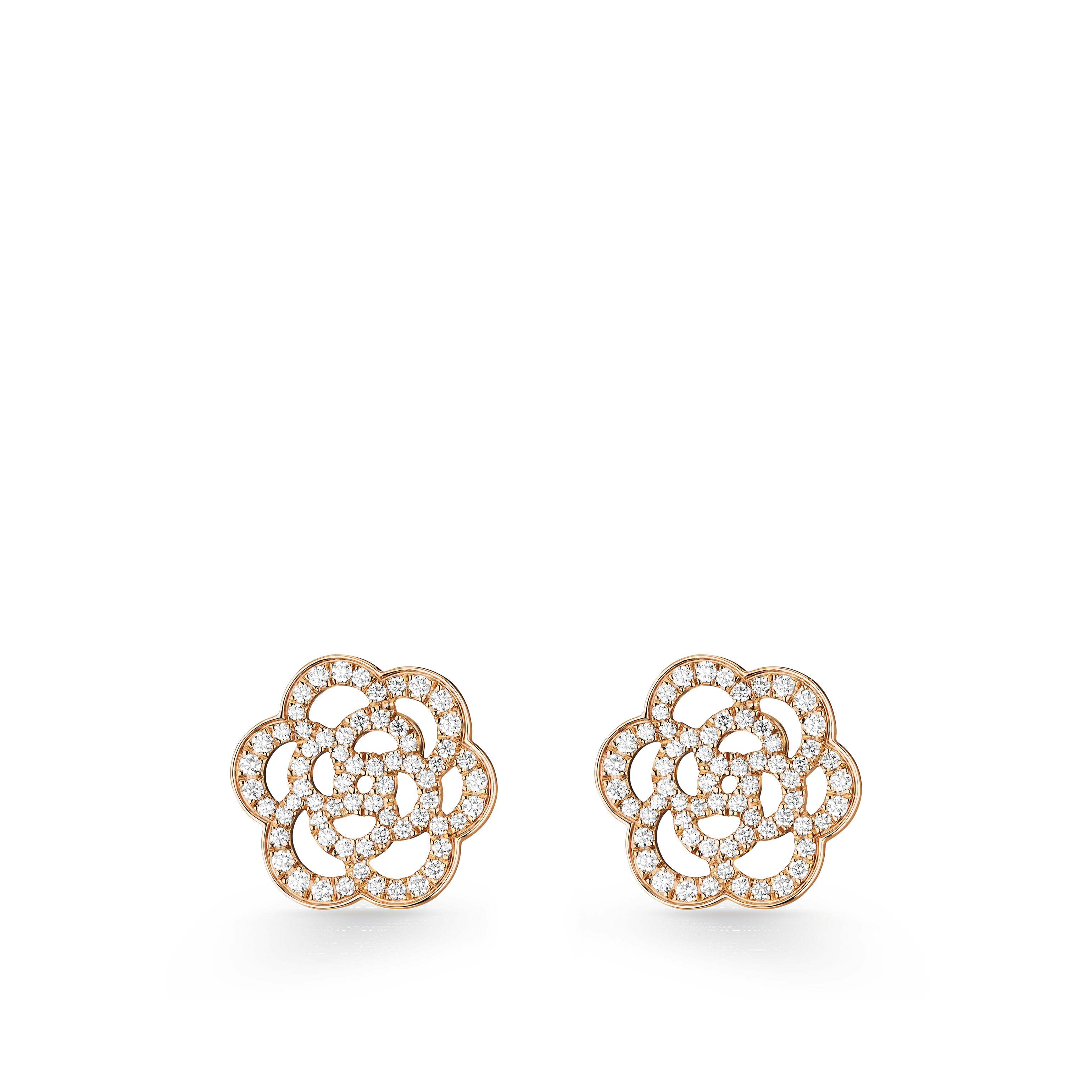 Camélia Earrings - Camélia Ajouré earrings in 18K pink gold and diamonds - Default view - see standard sized version
