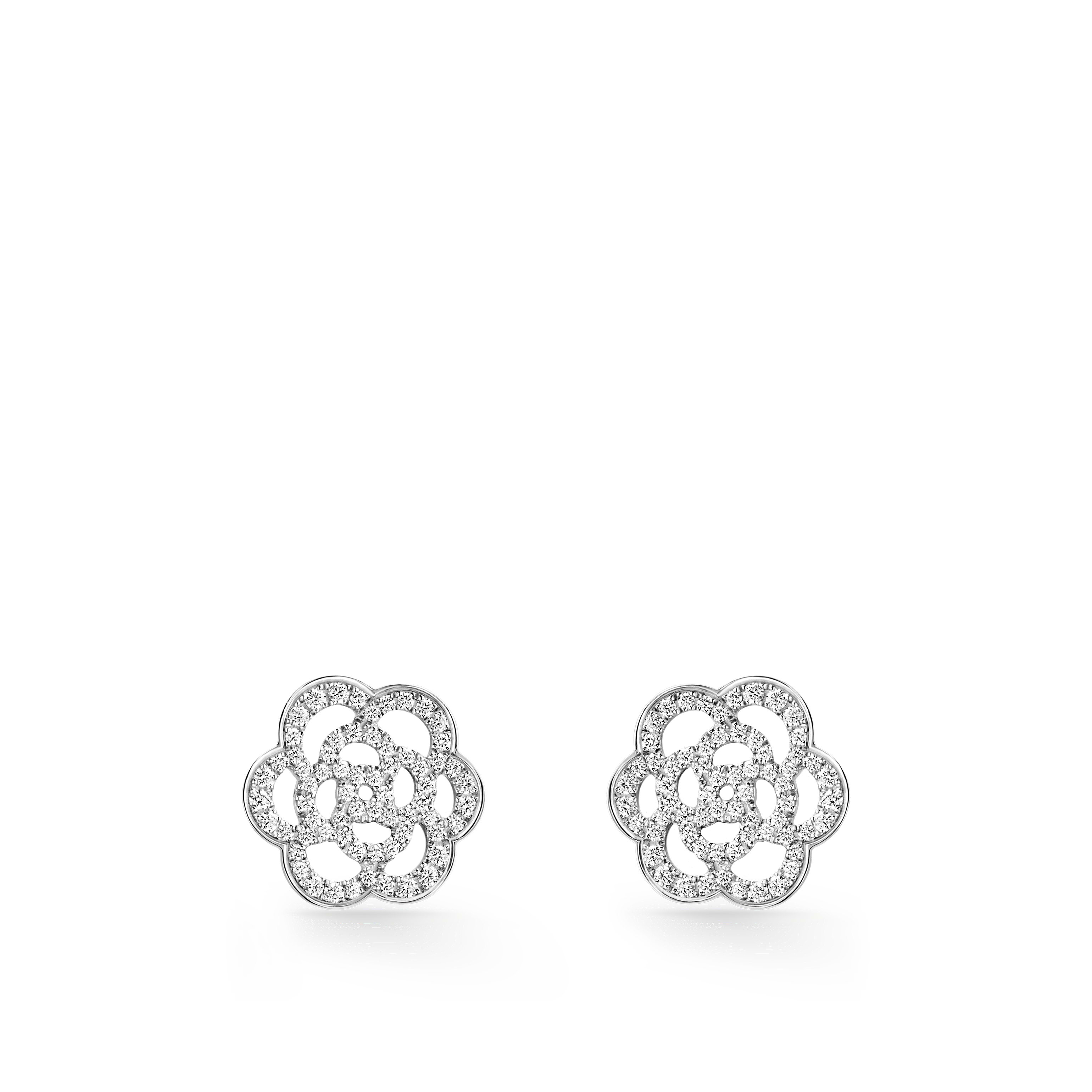 Camélia Earrings - Camélia Ajouré earrings in 18K white gold and diamonds - Default view - see standard sized version