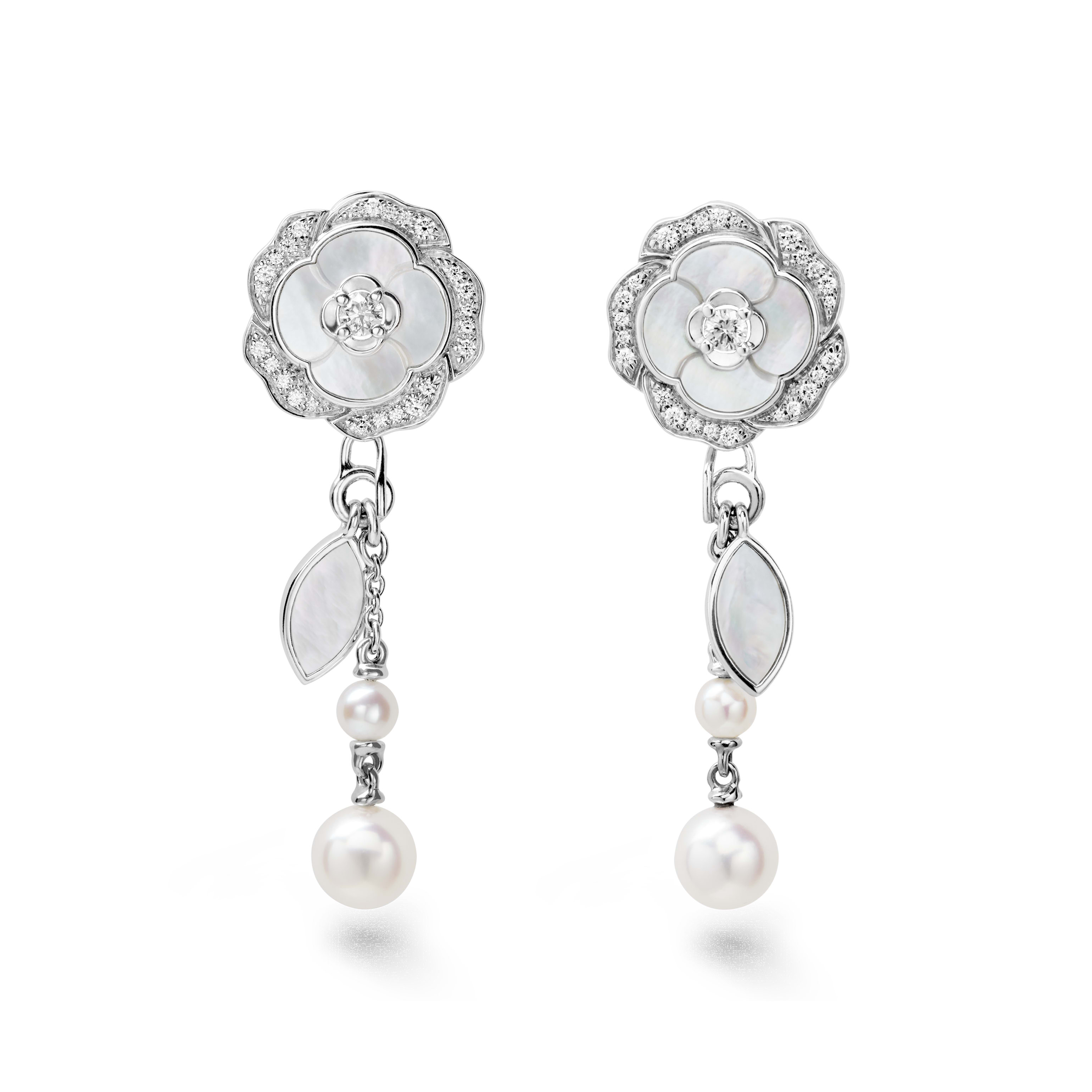 Camélia Earrings - Pétales de Camélia earrings in 18K white gold, diamonds, cultured pearls and mother-of-pearl - Default view - see standard sized version