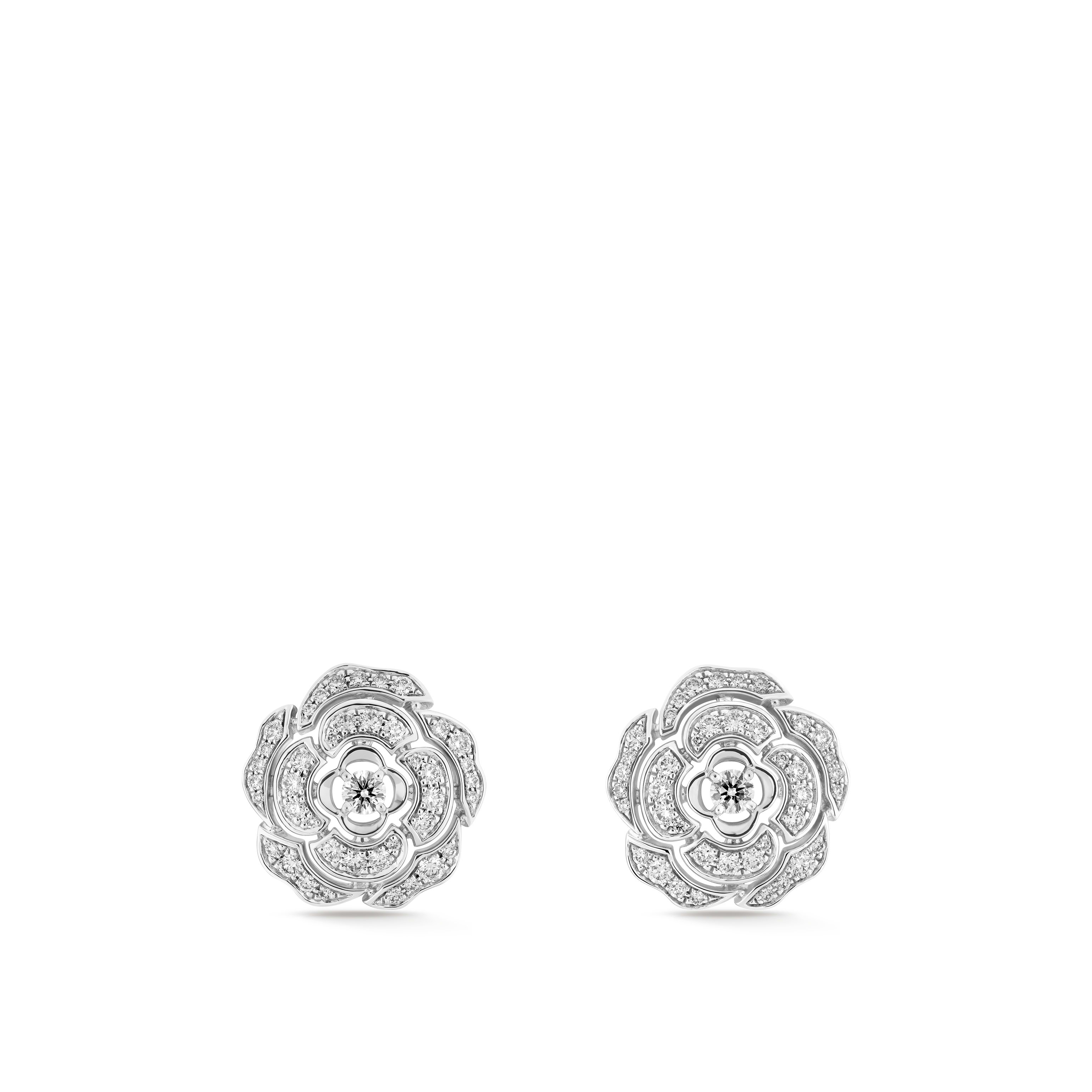 Camélia Earrings - Camellia bud motif in 18K white gold, diamonds and central diamond - Default view - see standard sized version