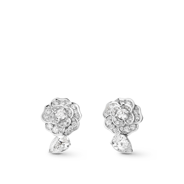 Camélia Ohrringe - Camélia Précieux Ohrringe aus 18 Karat Weißgold und Diamanten mit zentralen Diamanten - Standardansicht - Standardgröße anzeigen