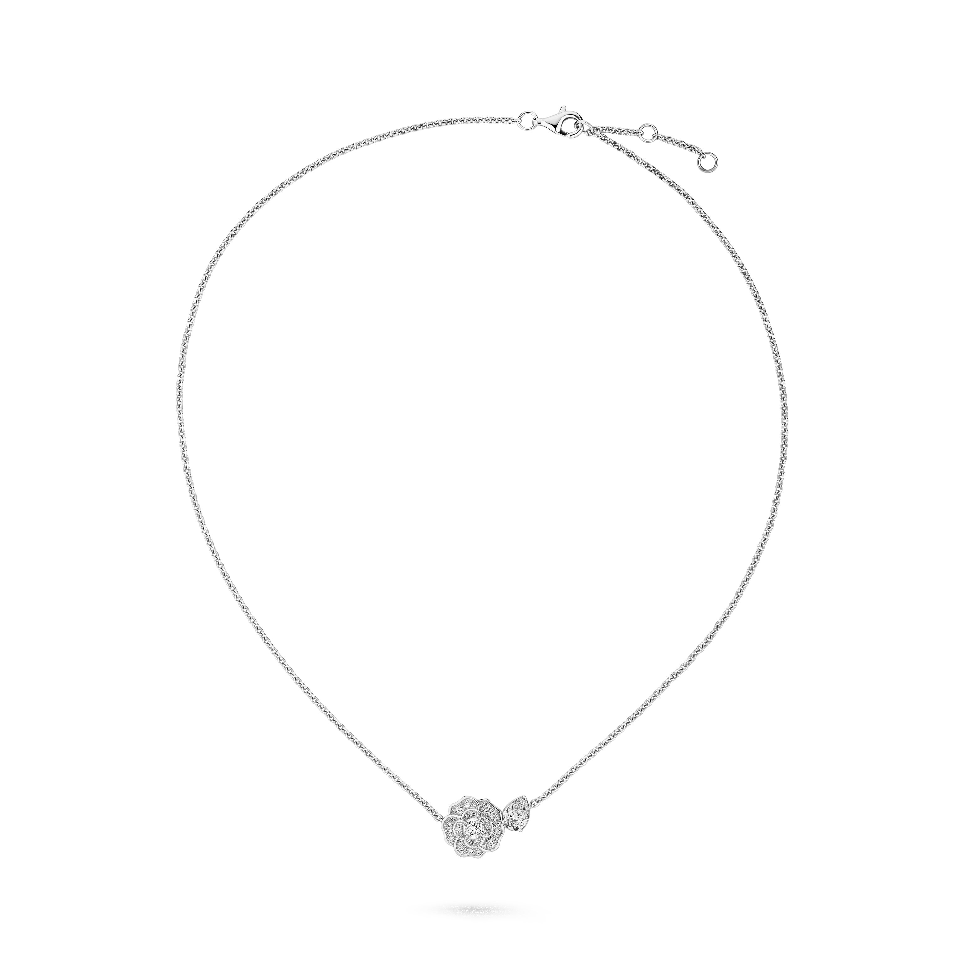 Camélia Précieux necklace - 18K white gold, diamonds - CHANEL - Default view - see standard sized version