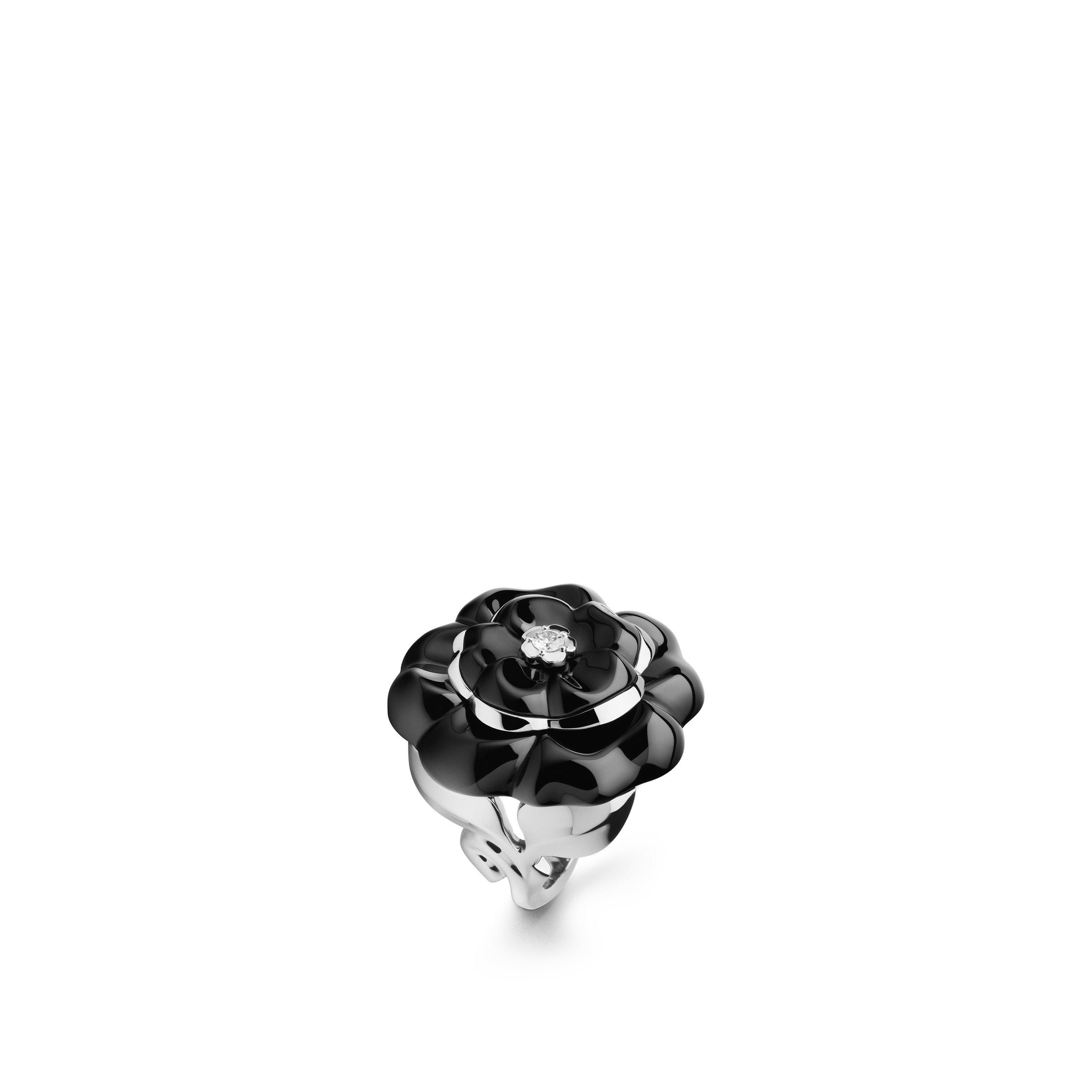 Camélia Ring - Camélia Galbé ring in black ceramic, 18K white gold and central diamond - Default view - see standard sized version