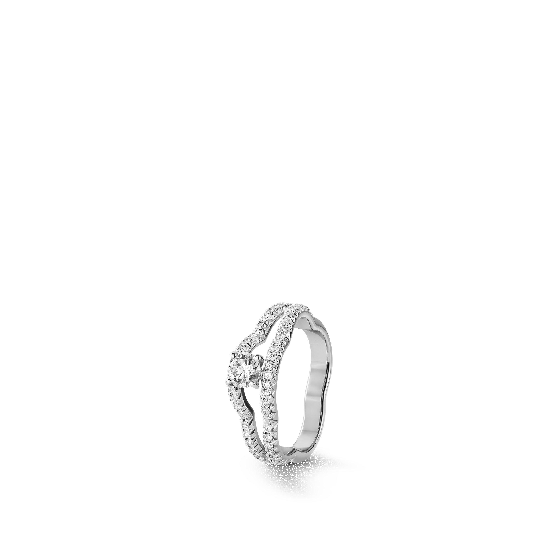 خاتم Camélia - ذهب أبيض عيار 18 قيراطاً، ماسة مركزية، ماس - CHANEL - العرض الافتراضي - عرض نسخة الحجم الموحد