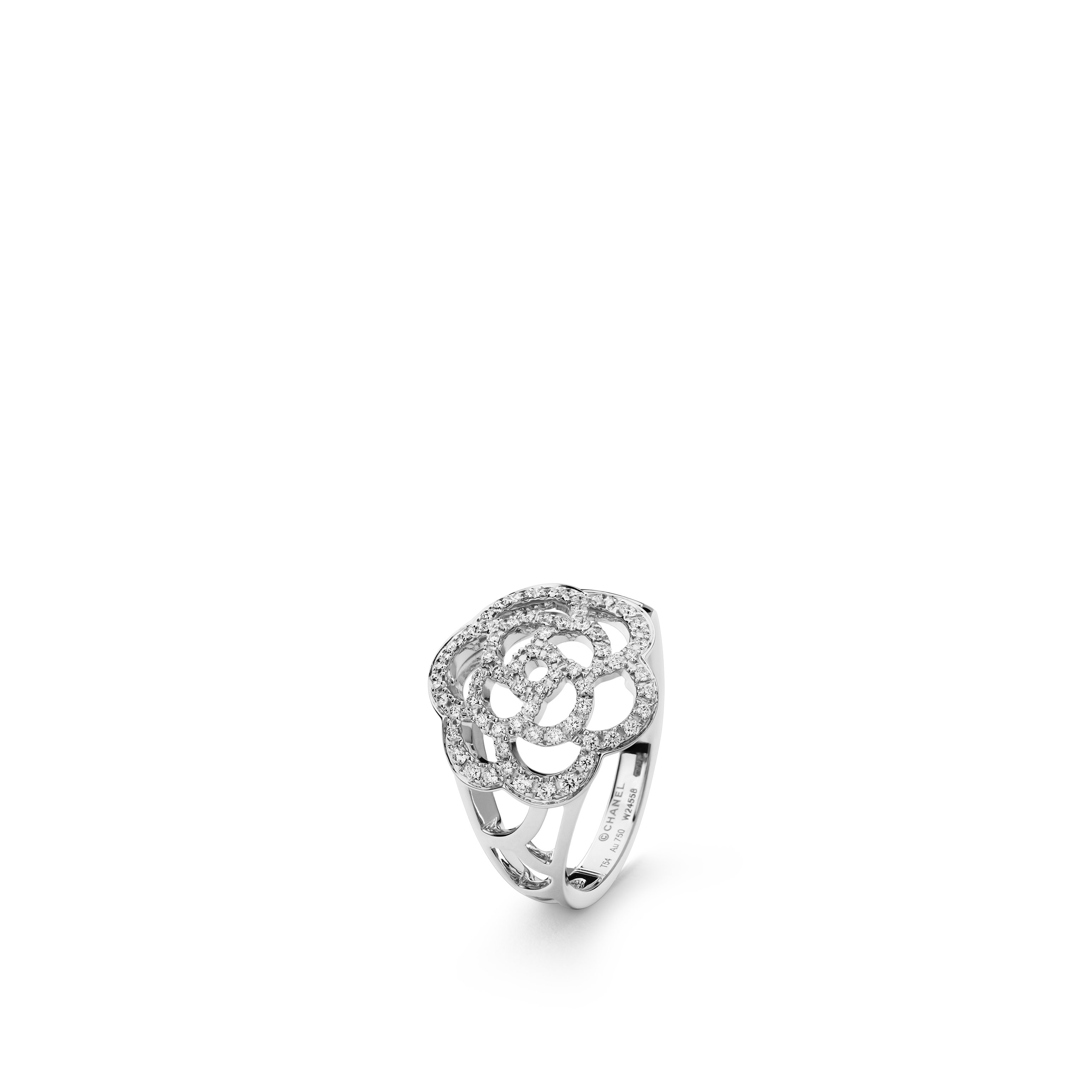 Camélia Ring - Camélia Ajouré ring in 18K white gold and diamonds - Default view - see standard sized version