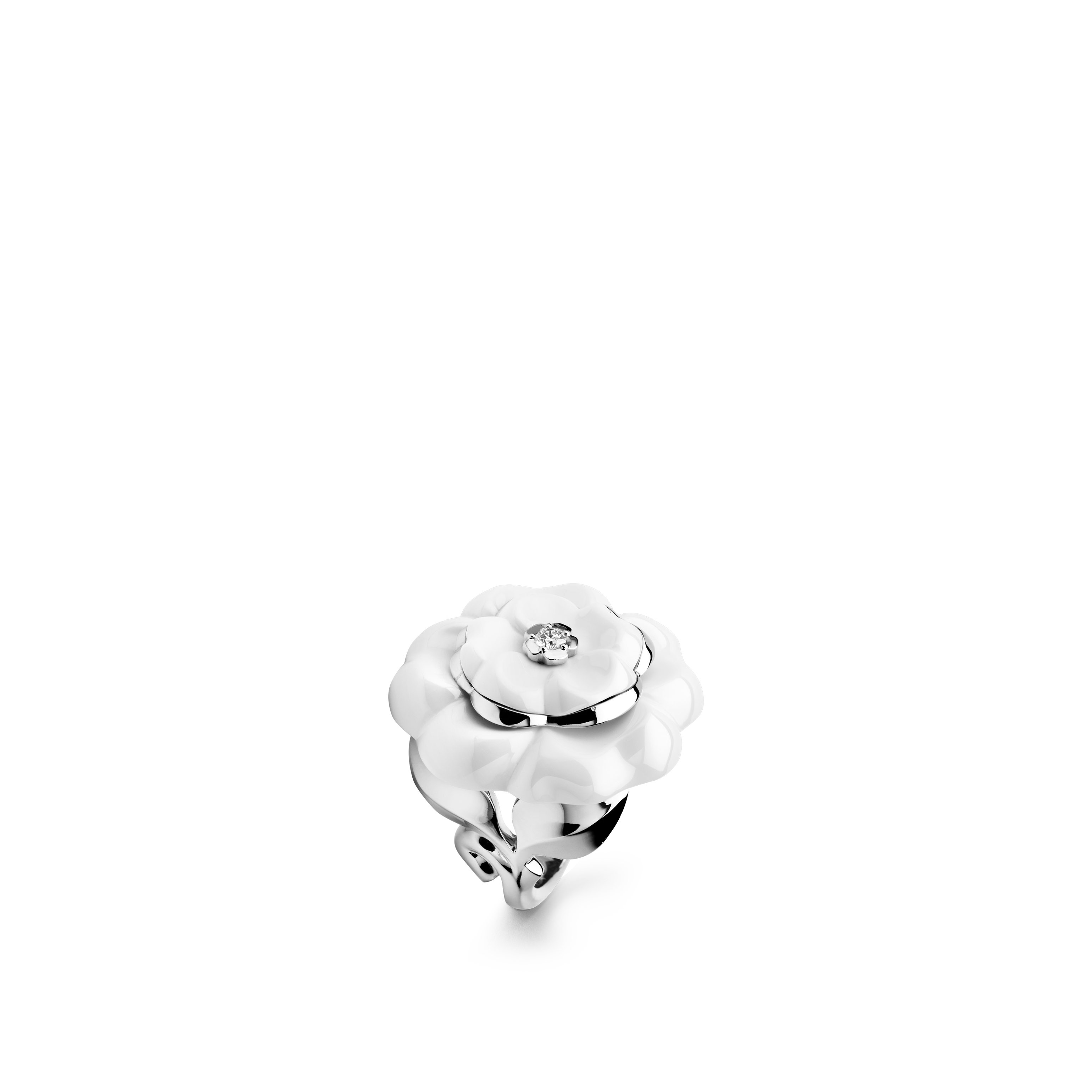 Camélia Ring - Camélia Galbé ring in white ceramic, 18K white gold and central diamond - Default view - see standard sized version