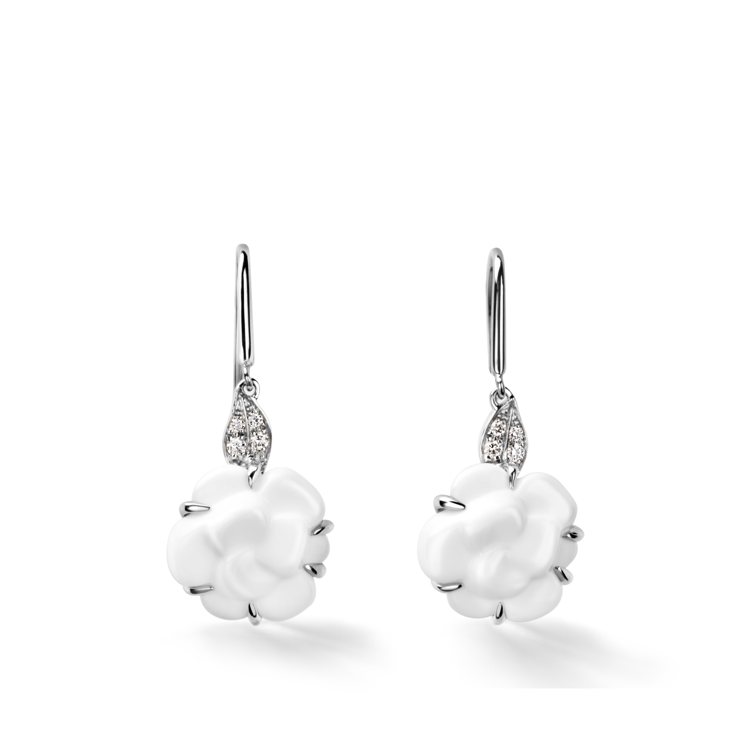 Camélia Sculpté earrings - 18K white gold, diamonds, white agate - CHANEL - Default view - see standard sized version