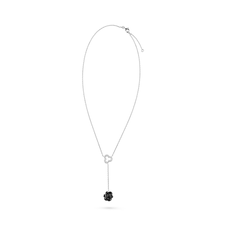 Camélia Sculpté necklace - 18K white gold, diamonds, onyx - CHANEL - Default view - see standard sized version