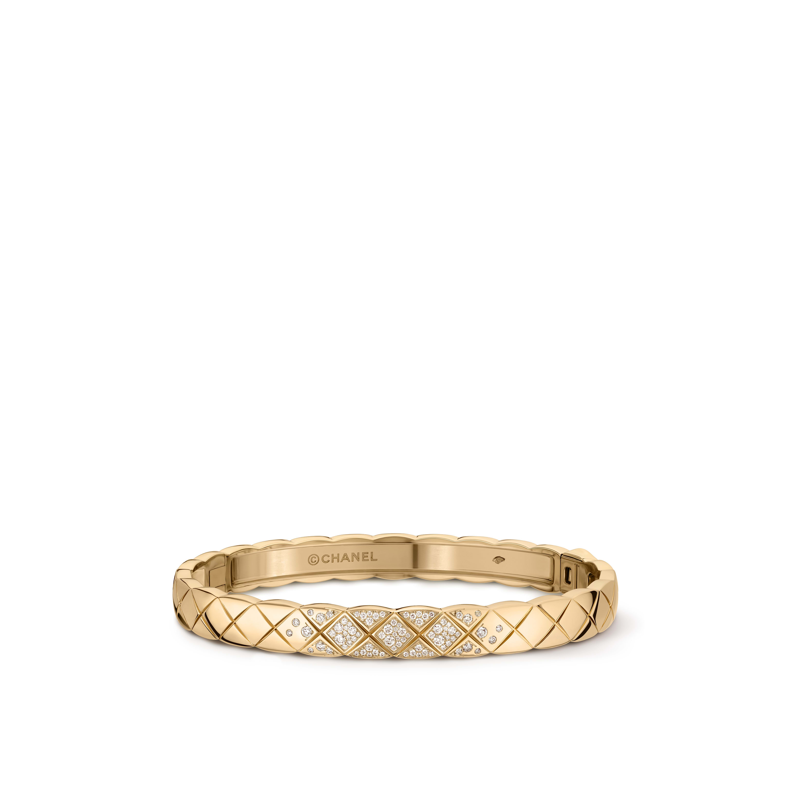 Coco Crush bracelet - Quilted motif, 18K BEIGE GOLD, diamonds - CHANEL - Default view - see standard sized version