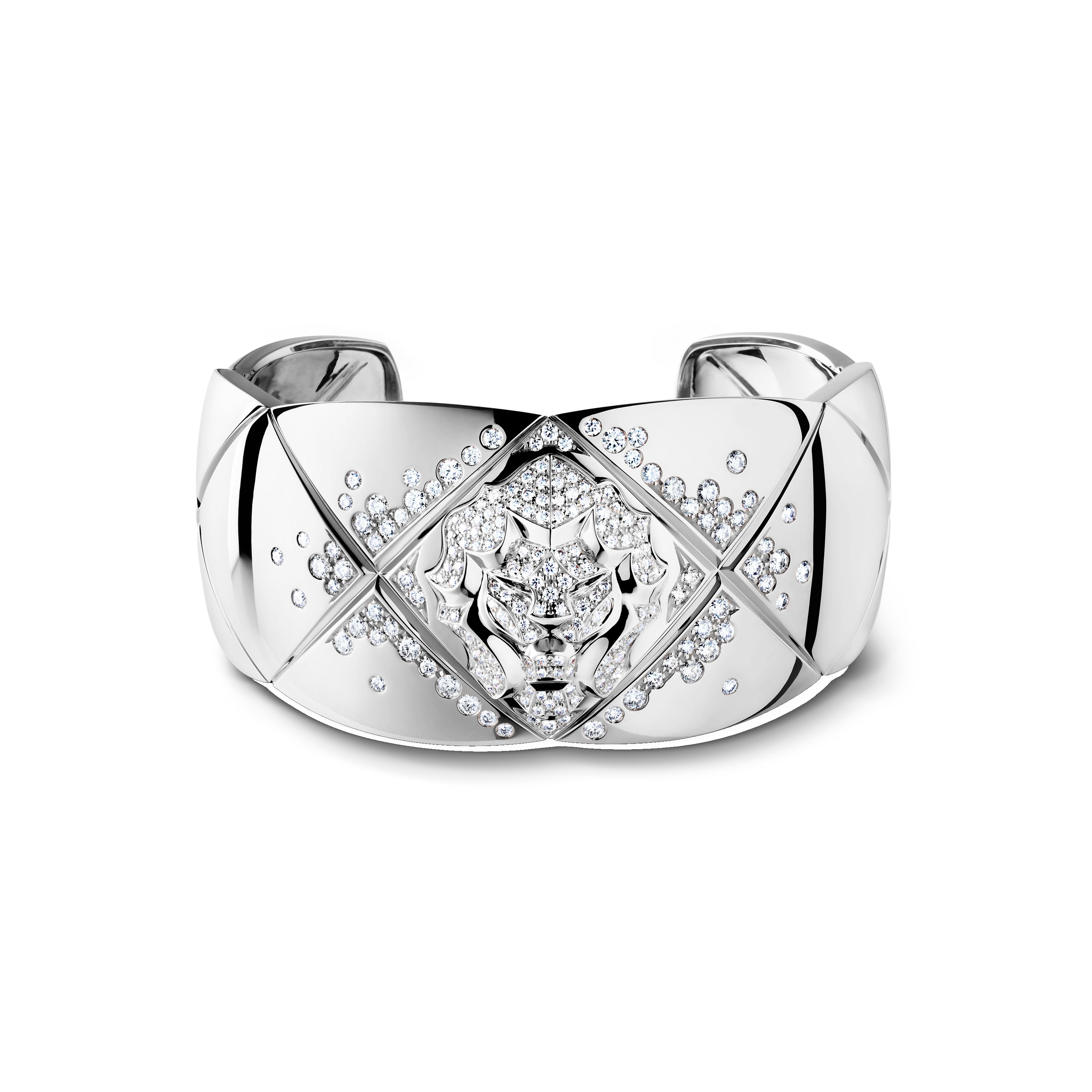 Coco Crush bracelet - Quilted motif and lion cuff in 18K white gold and diamonds - Default view - see standard sized version