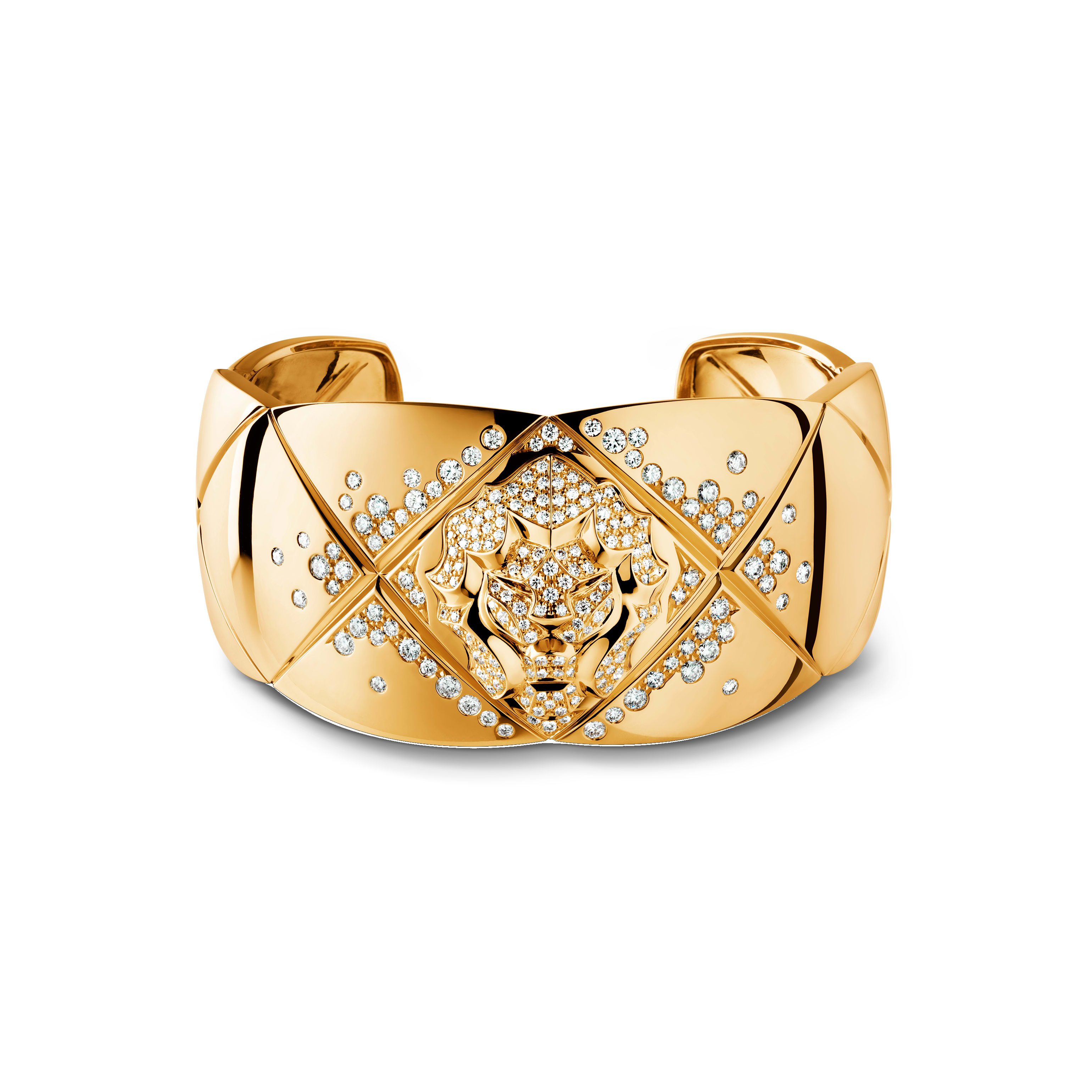 Coco Crush bracelet - Quilted motif and lion cuff in 18K yellow gold and diamonds - Default view - see standard sized version